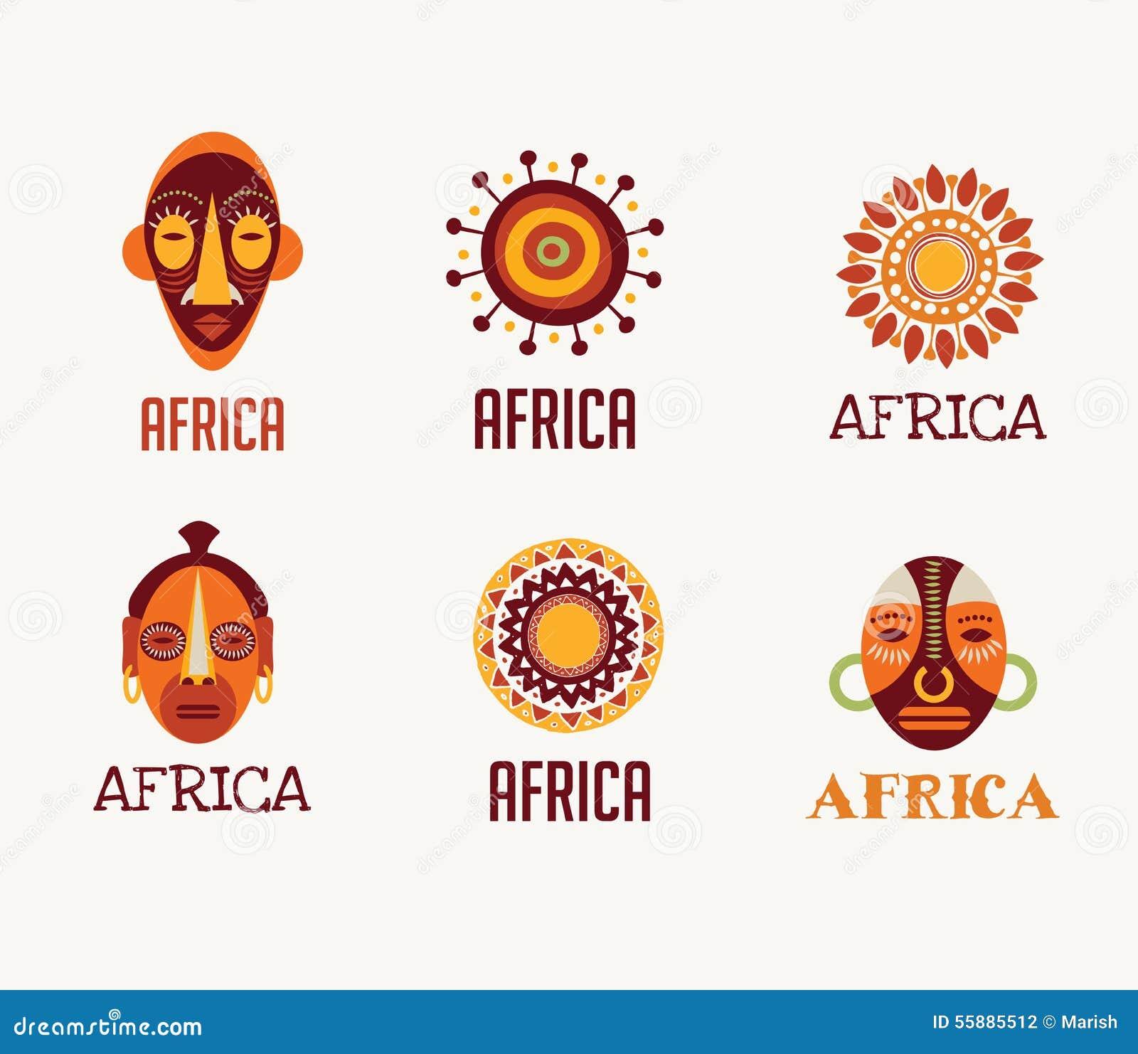 Iconos de África, del safari y sistema de elemento