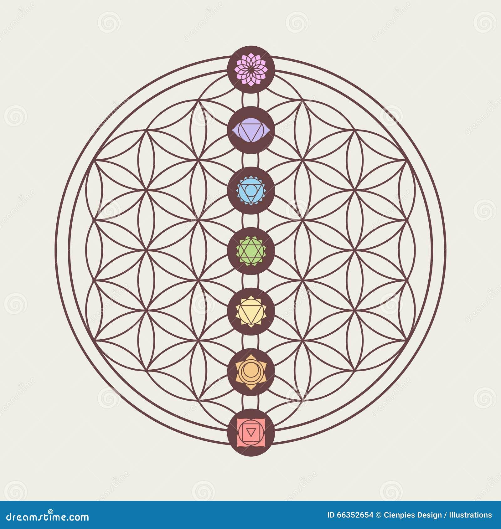 Iconos de Chakra en diseño sagrado de la geometría