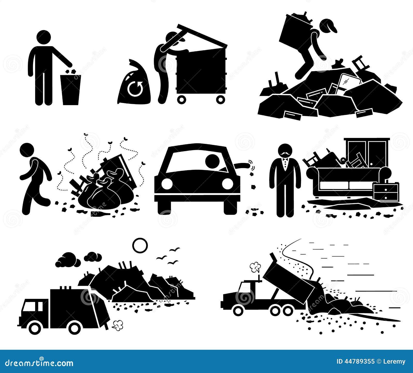 Iconos de Cliparts del sitio de la descarga inútil de la basura de la basura de los desperdicios