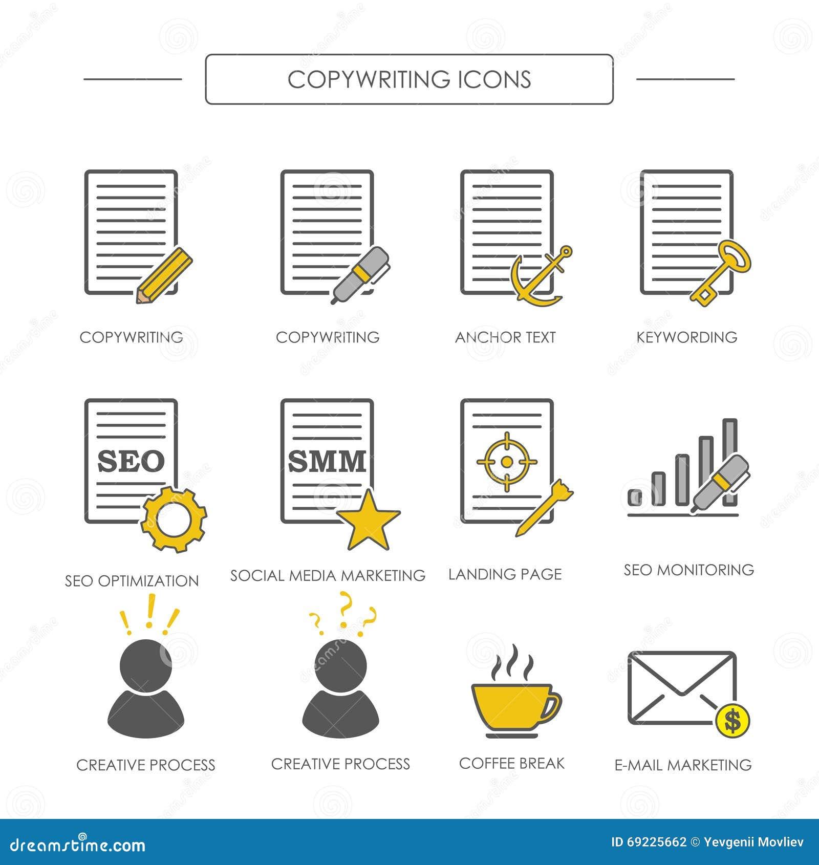 Iconos de copywriting en estilo linear El copywriting de SEO y SMM V