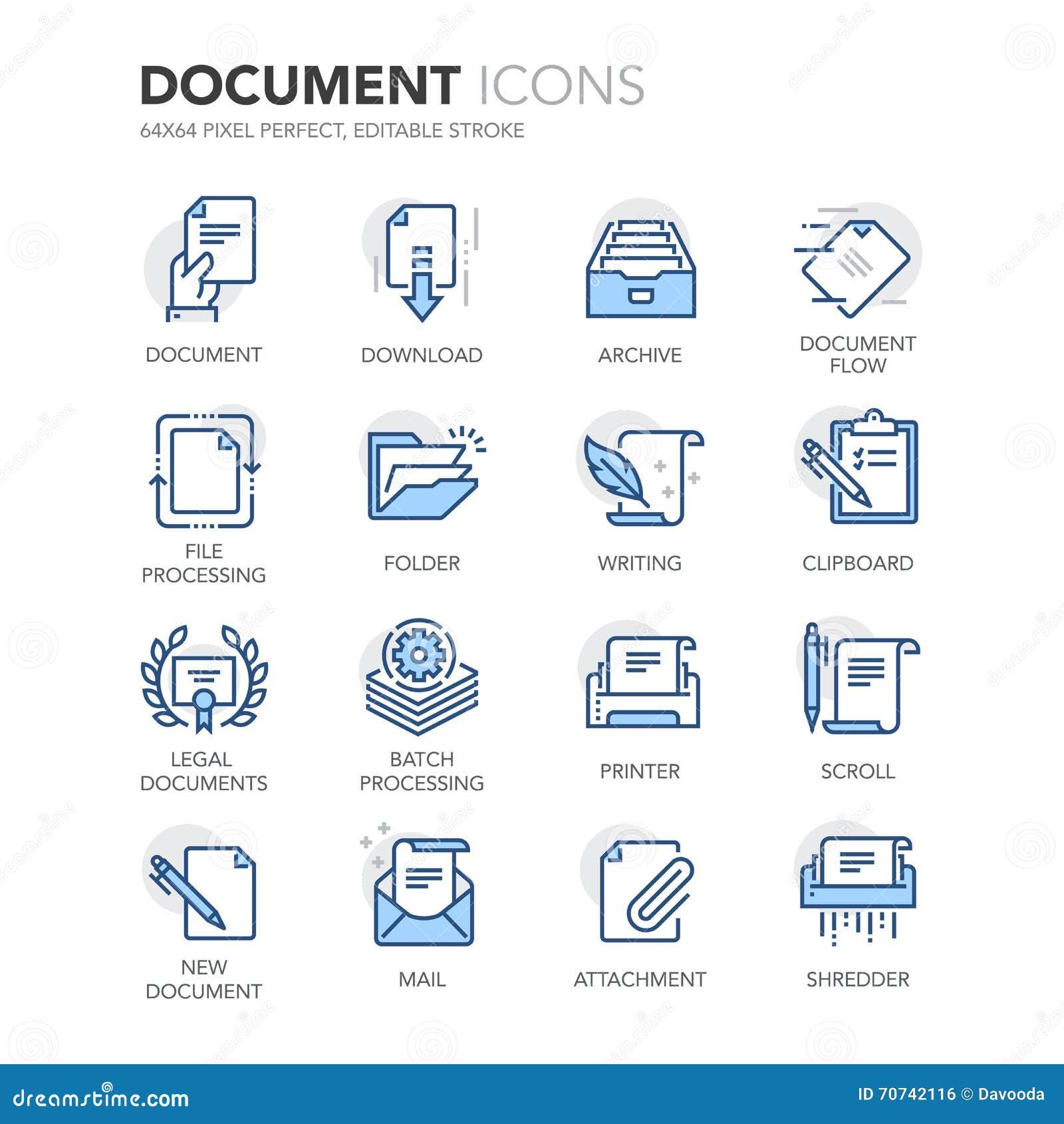 Iconos de documentos de Blue Line