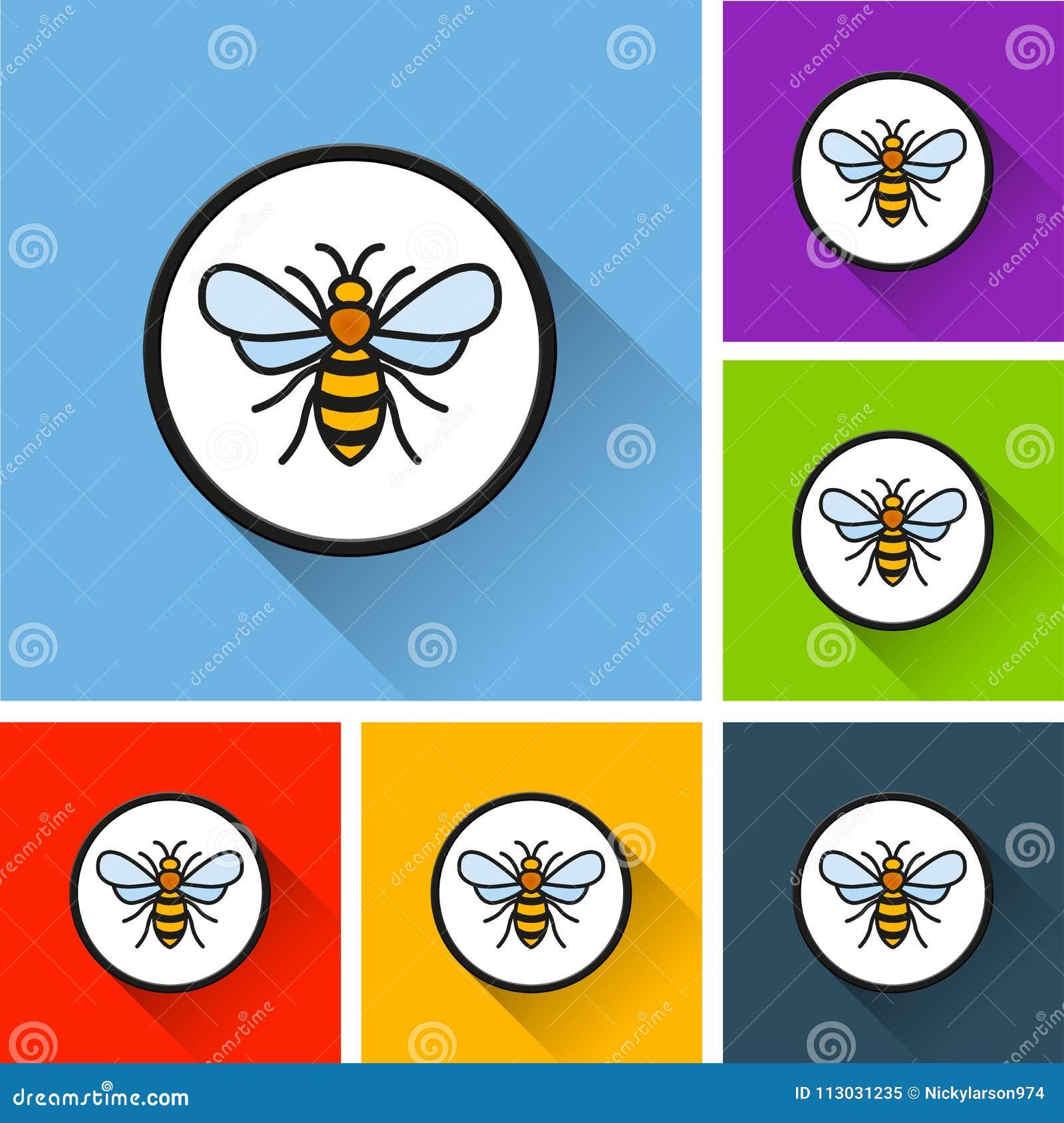 Iconos de la abeja con la sombra larga