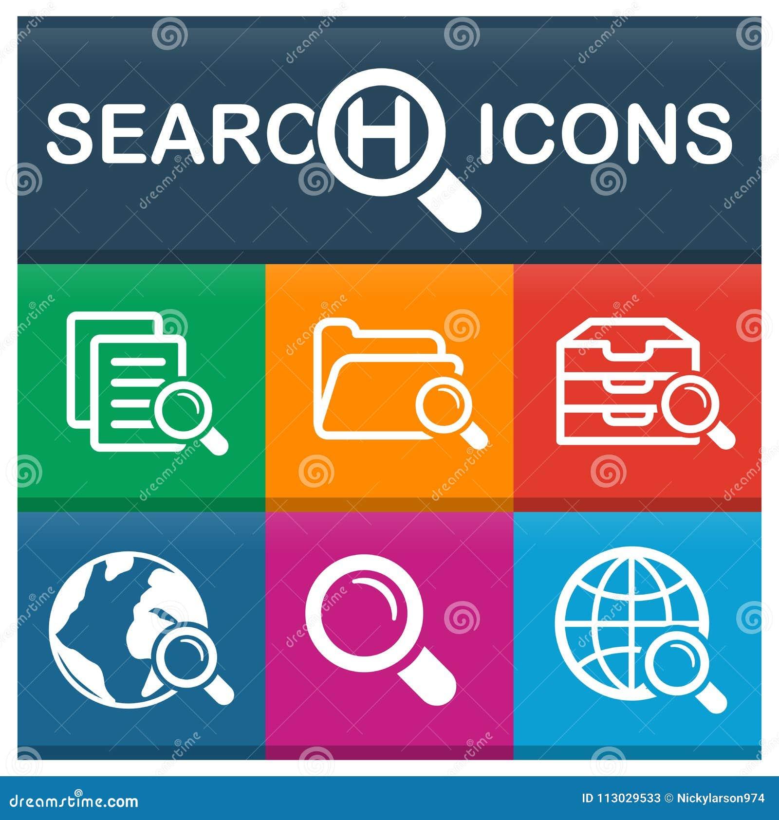 Iconos de la búsqueda fijados con diversos colores