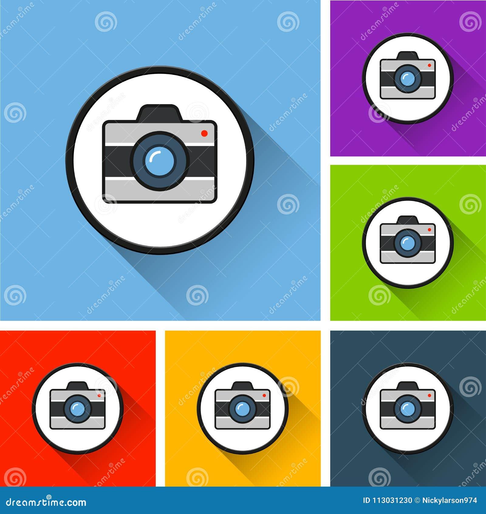 Iconos de la cámara con la sombra larga