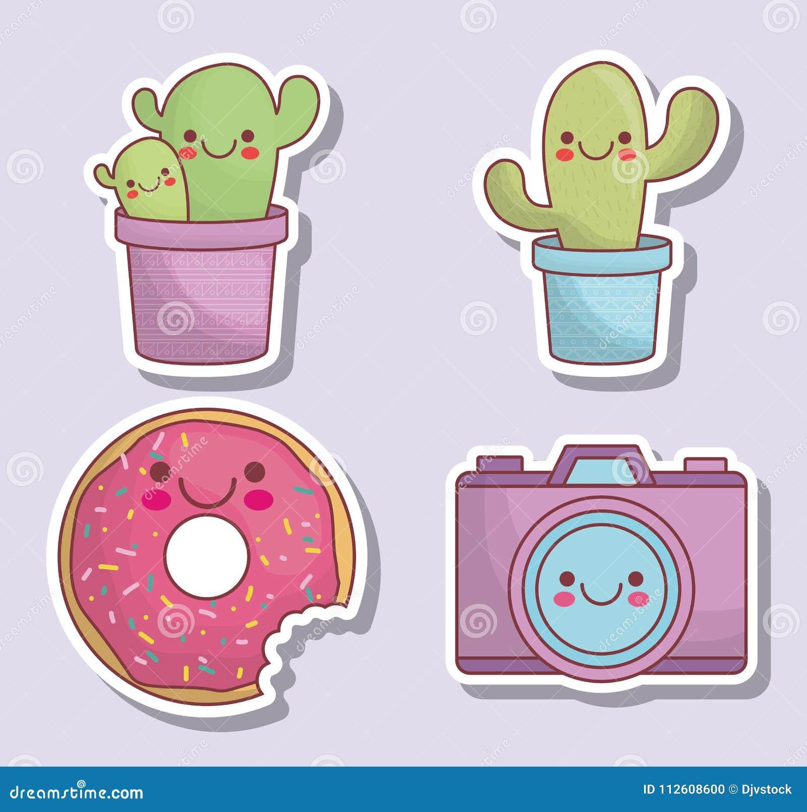Iconos De La Cámara Y Del Cactus De Kawaii Ilustración Del Vector