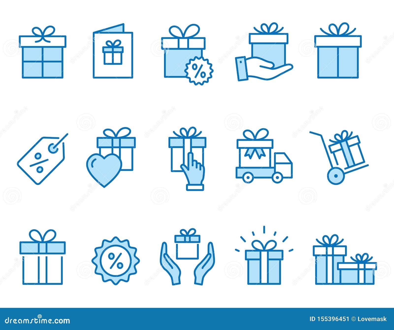 Iconos de la caja de regalo fijados Ejemplo negro del vector Movimiento Editable