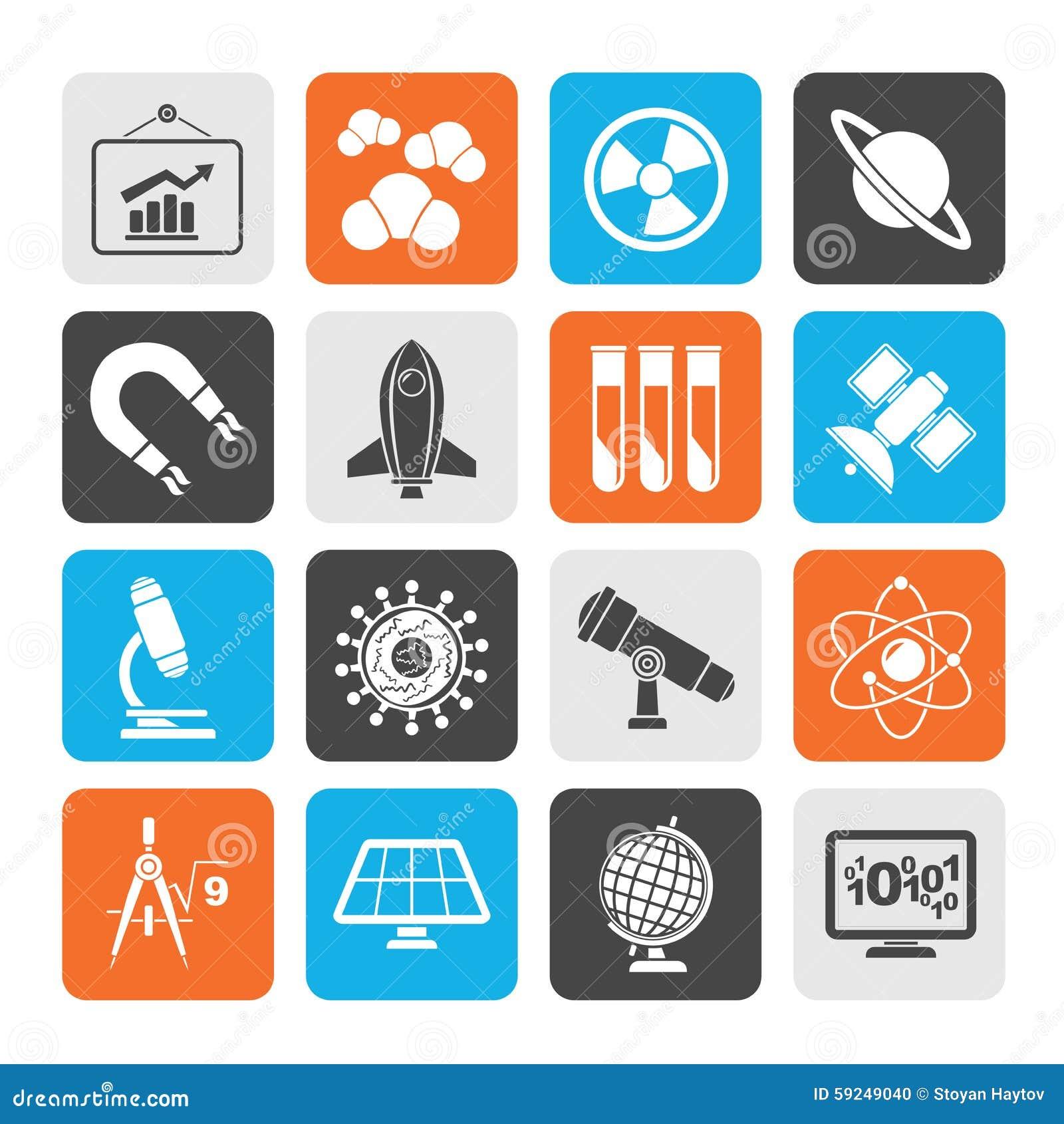 Iconos de la ciencia, de la investigación y de la educación de la silueta