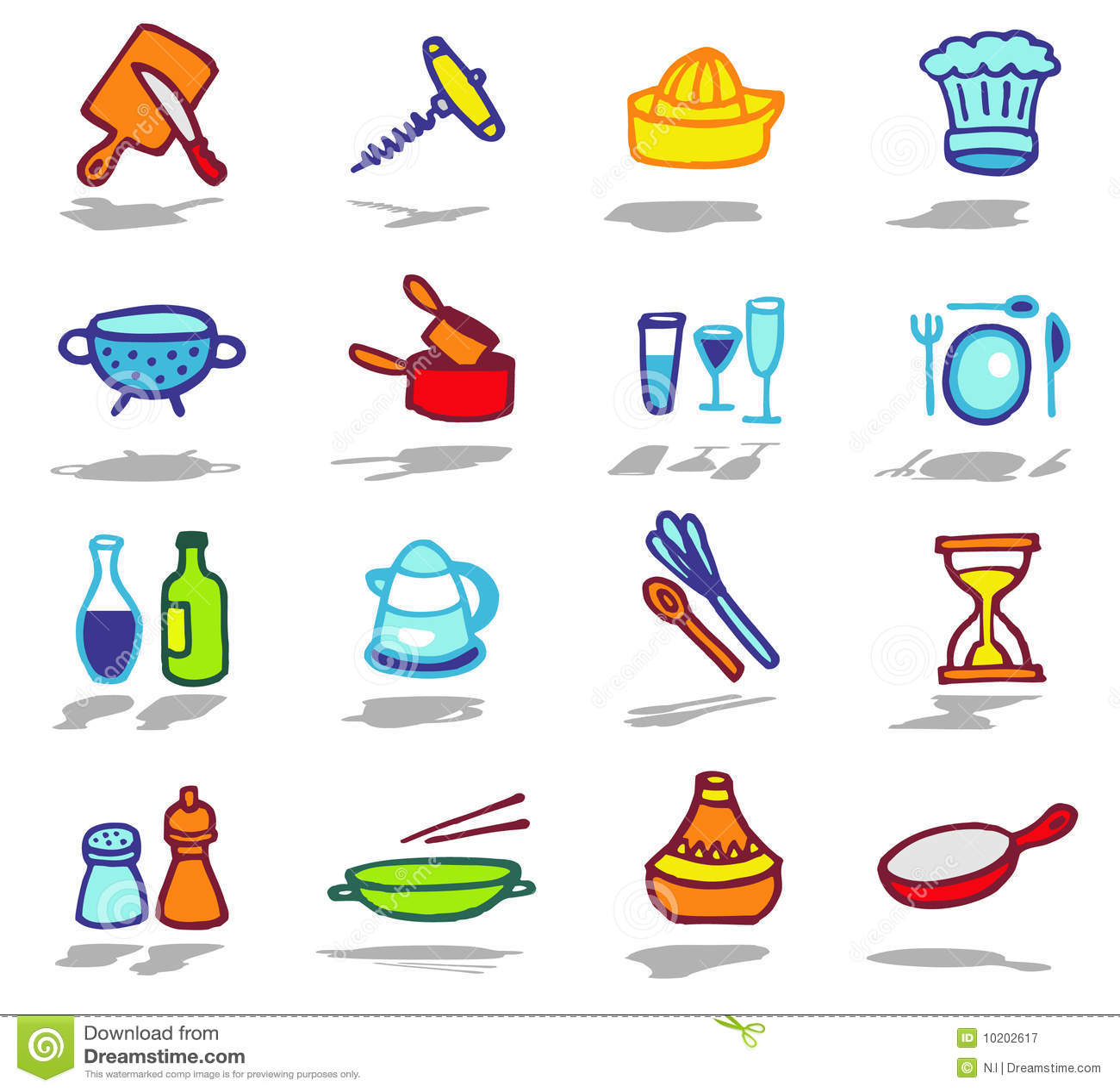 Iconos de la cocina fijados fotograf a de archivo libre de for Objetos de cocina
