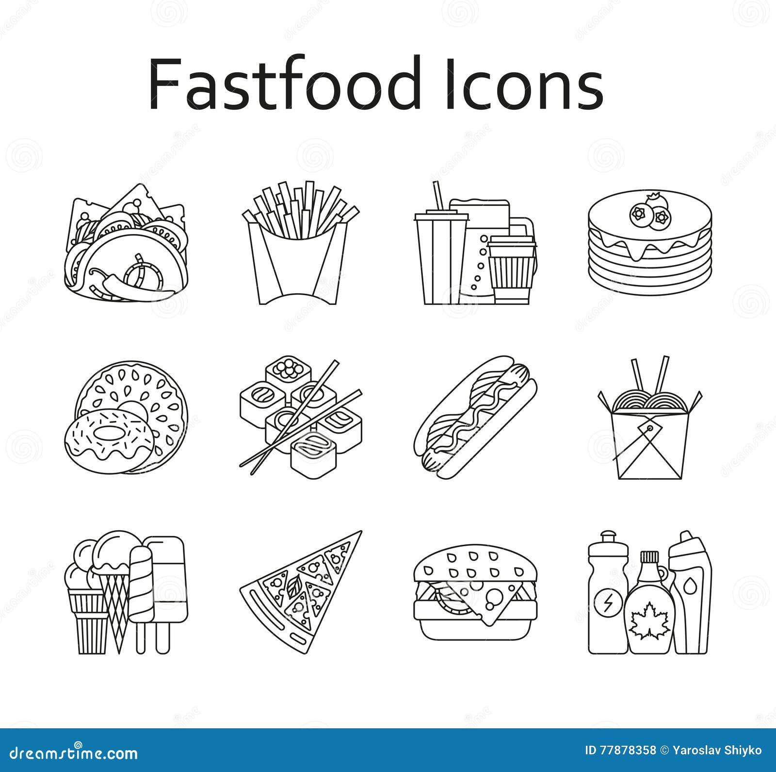 Iconos De La Comida Rápida Y Del Streetfood Fijados Ilustración del Vector