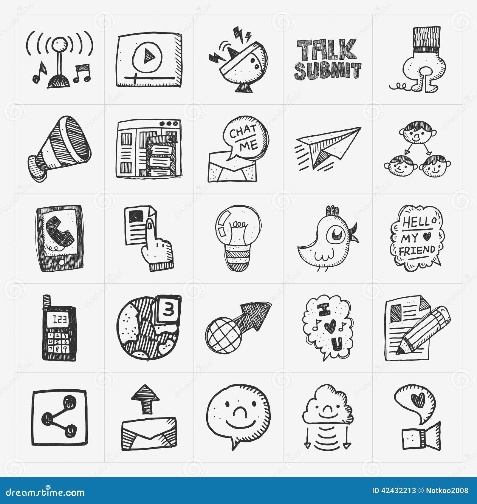 Iconos de la comunicación del garabato fijados