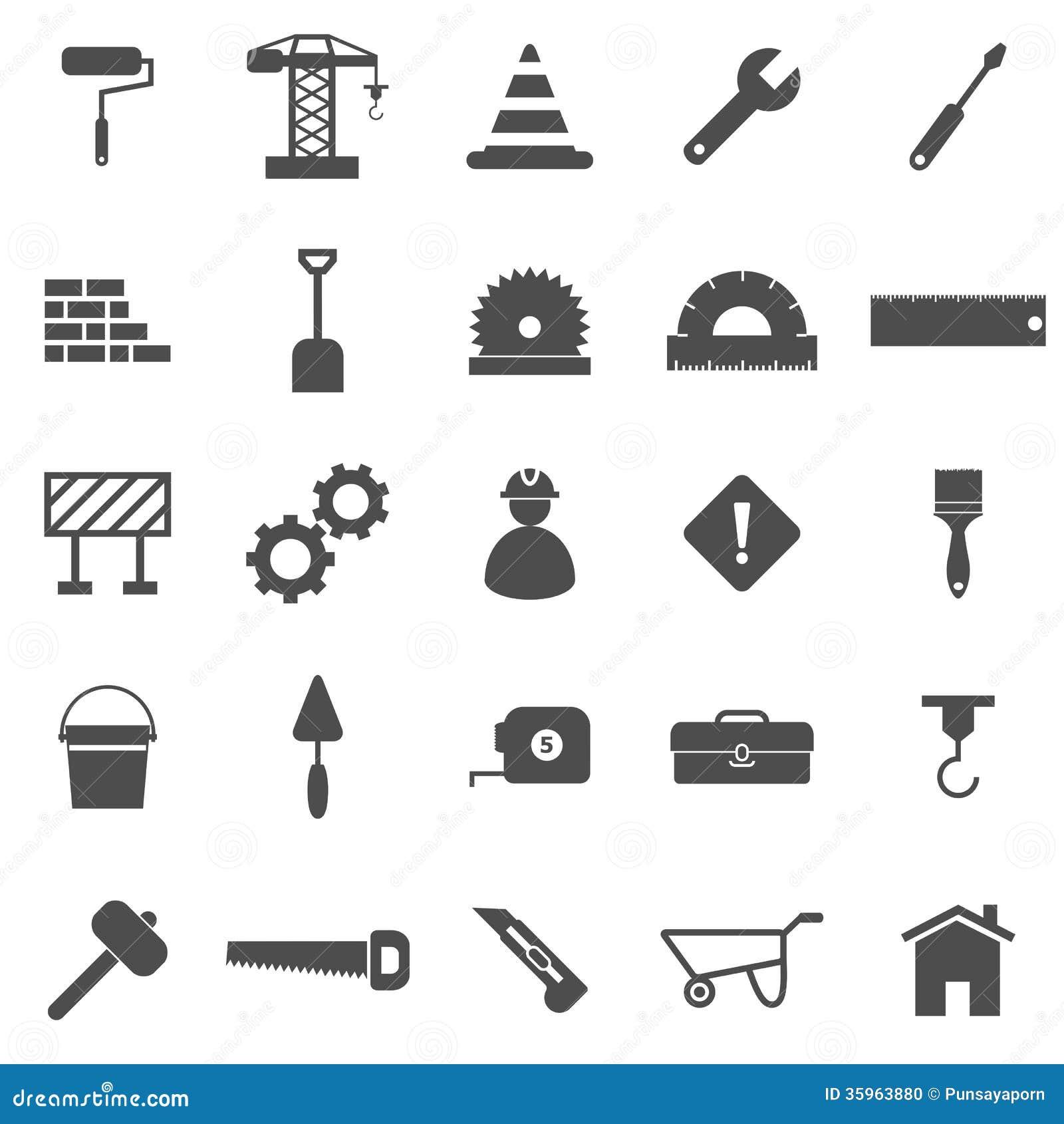 Iconos de la construcción en el fondo blanco