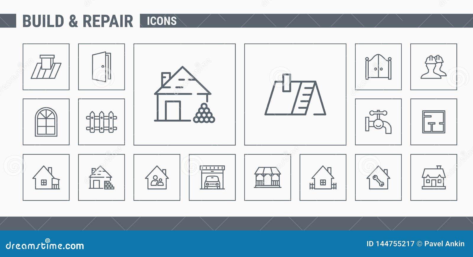 Iconos de la construcción y de la reparación - web y móvil determinados 02