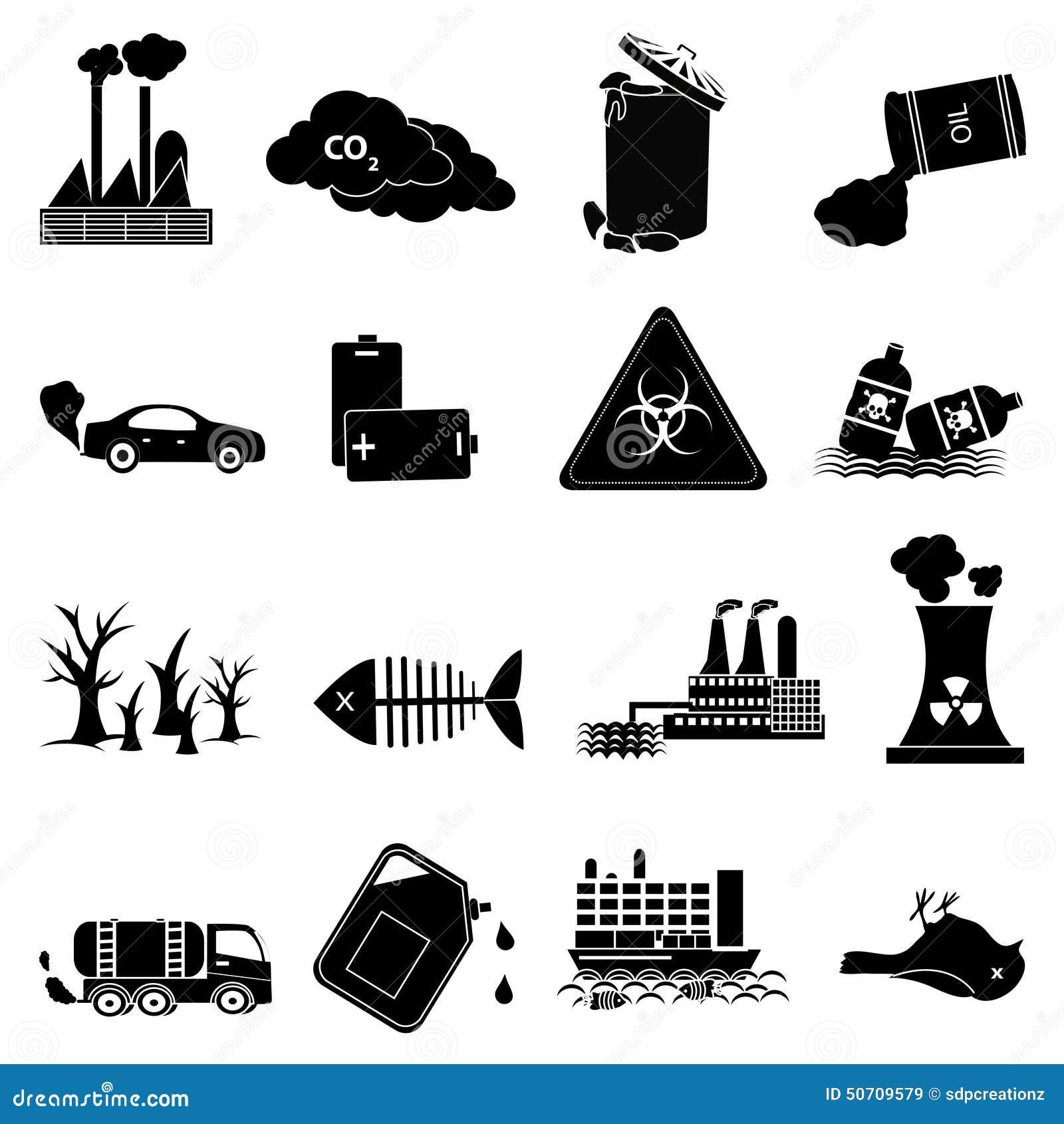 Iconos de la contaminación del ambiente fijados