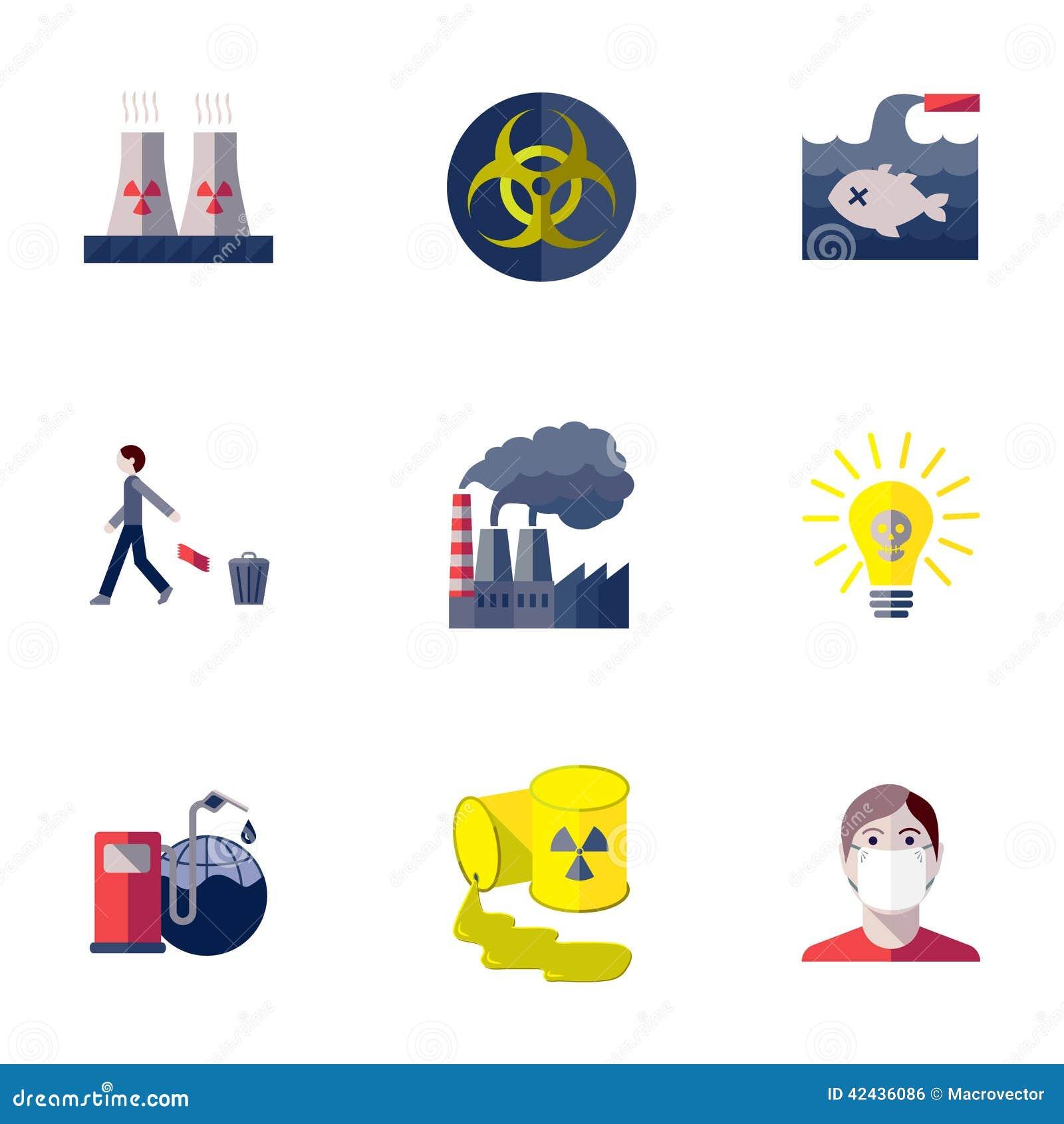 Iconos de la contaminación fijados