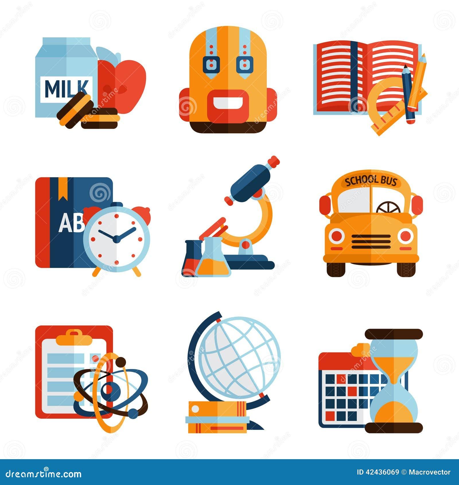 Iconos de la educación fijados