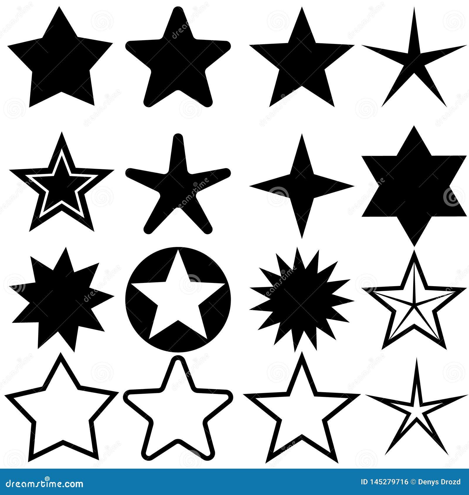 Iconos de la estrella fijados Ejemplo del vector de la colecci?n de cinco estrellas