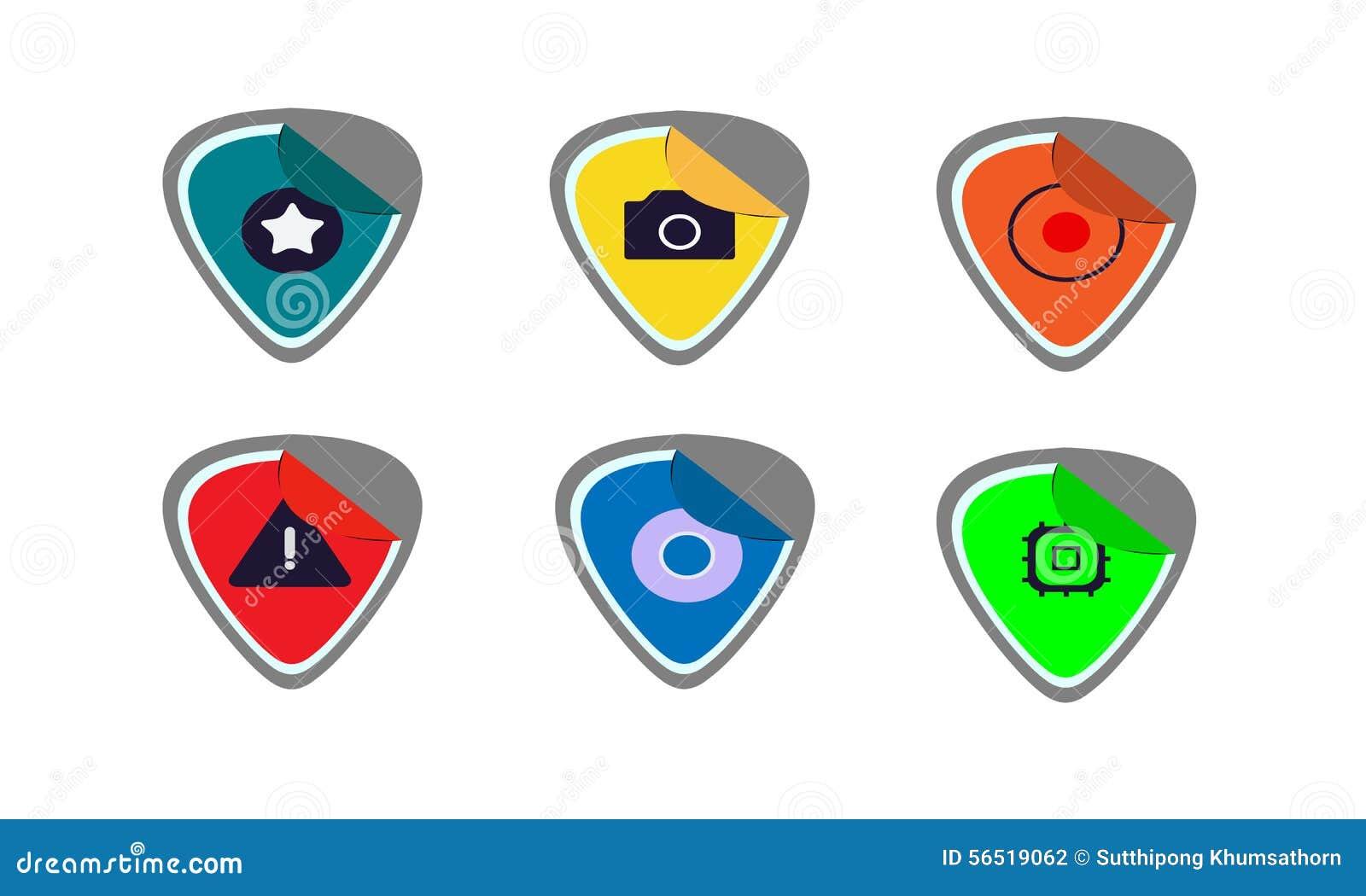 Iconos de la etiqueta engomada