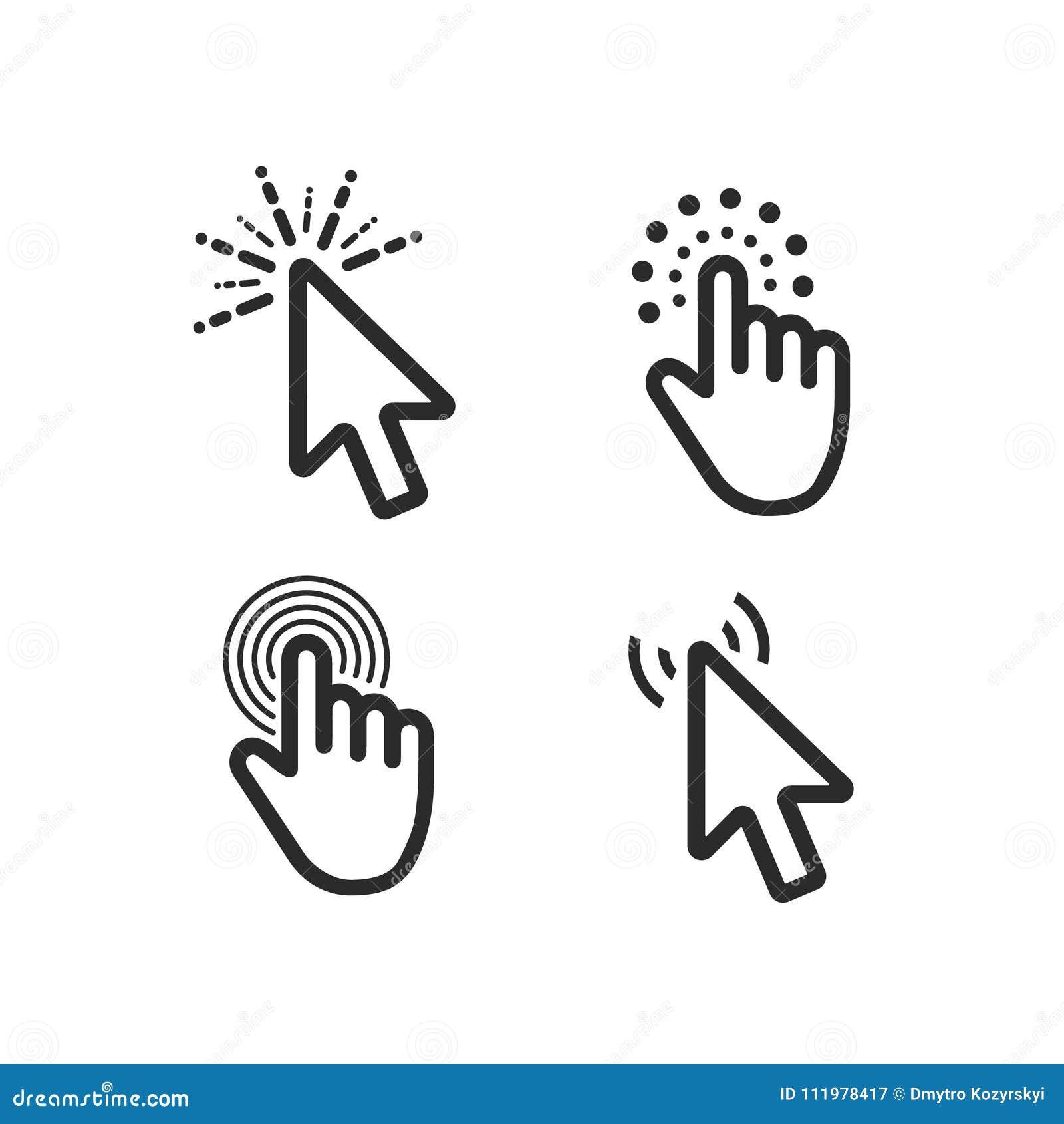 Iconos de la flecha del negro del cursor del clic del ratón del ordenador fijados Ilustración del vector