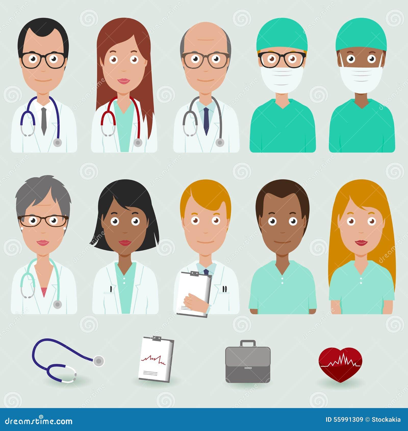 Iconos De La Gente De Personal Médico Ilustración Del