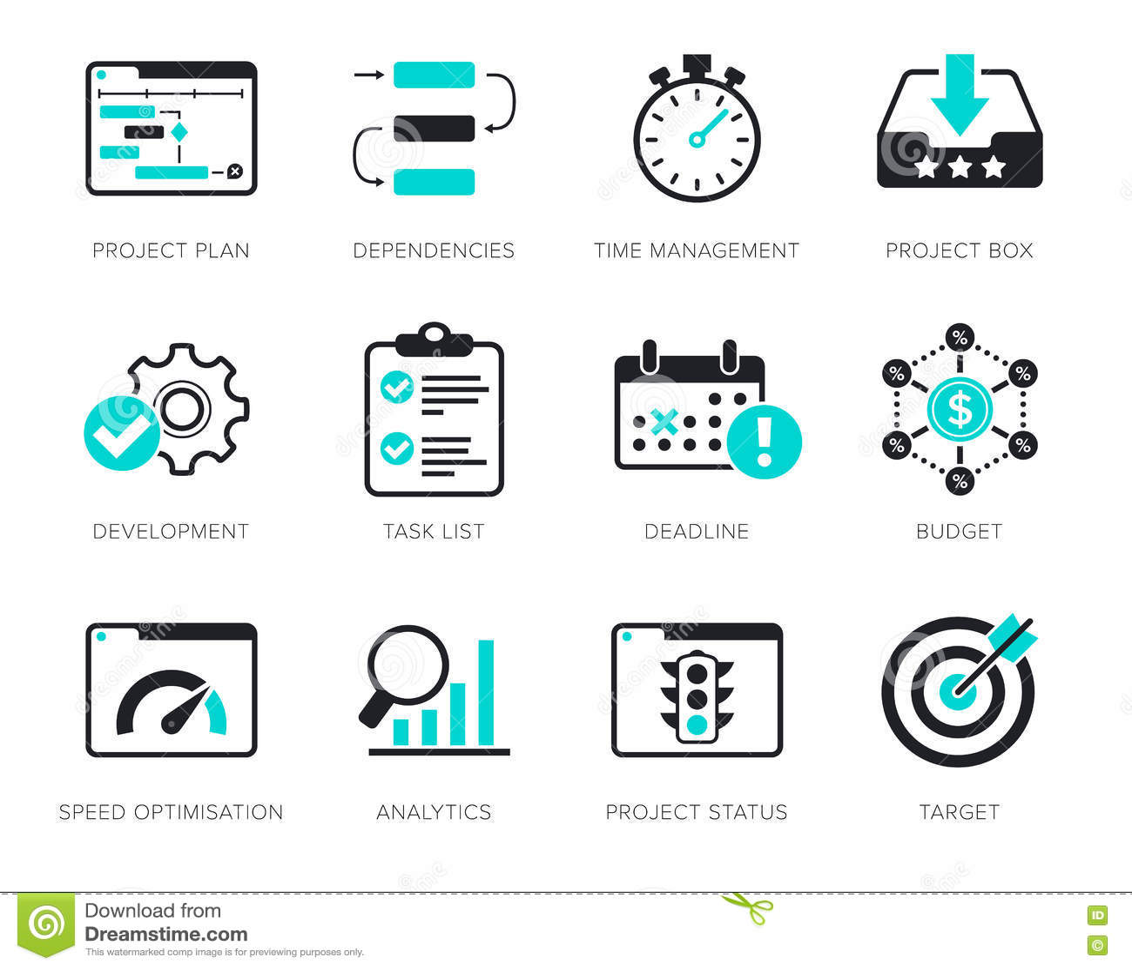 Iconos de la gestión del proyecto fijados