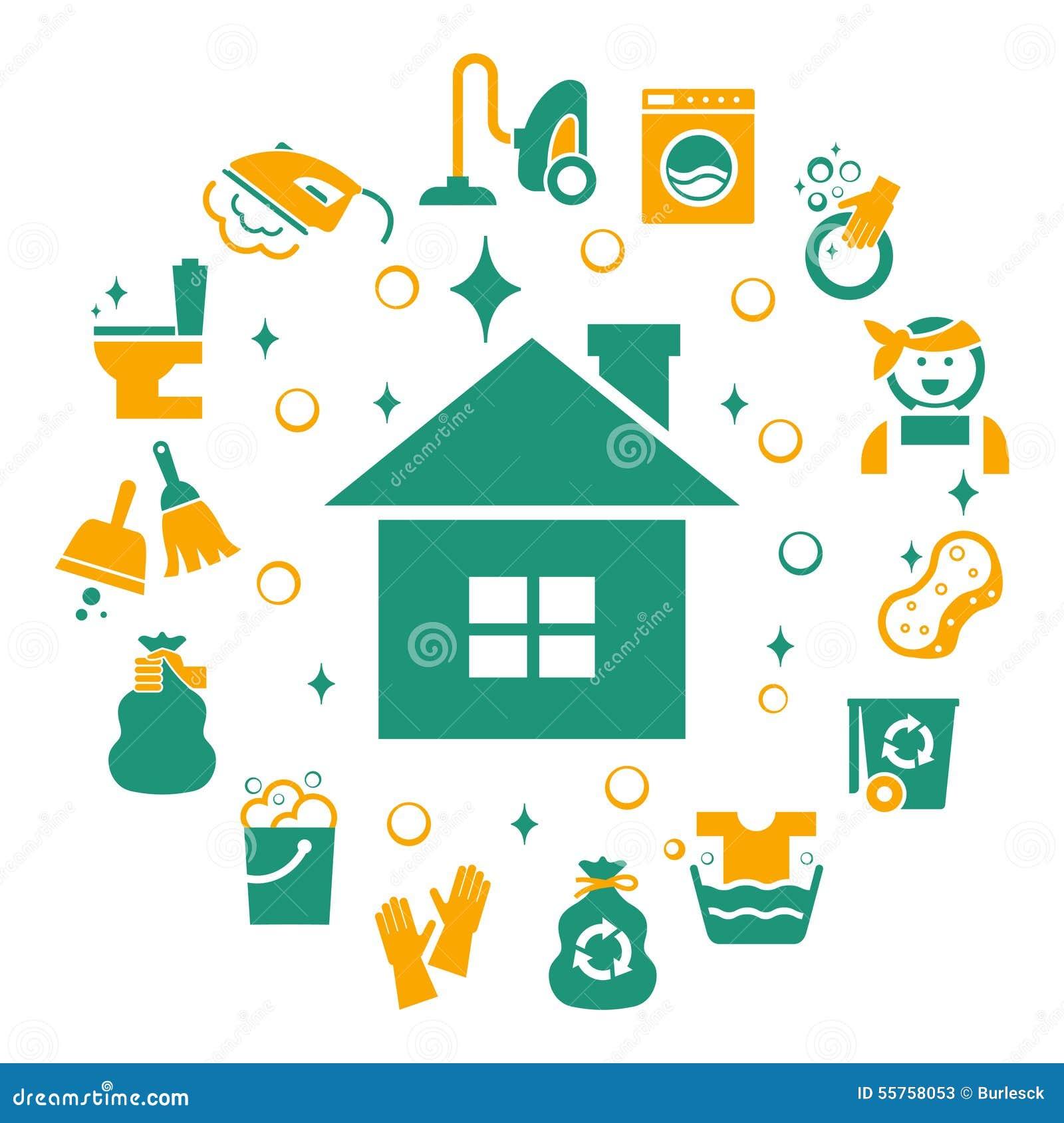 Iconos de la limpieza del hogar fijados ilustraci n del - Limpieza en casas ...