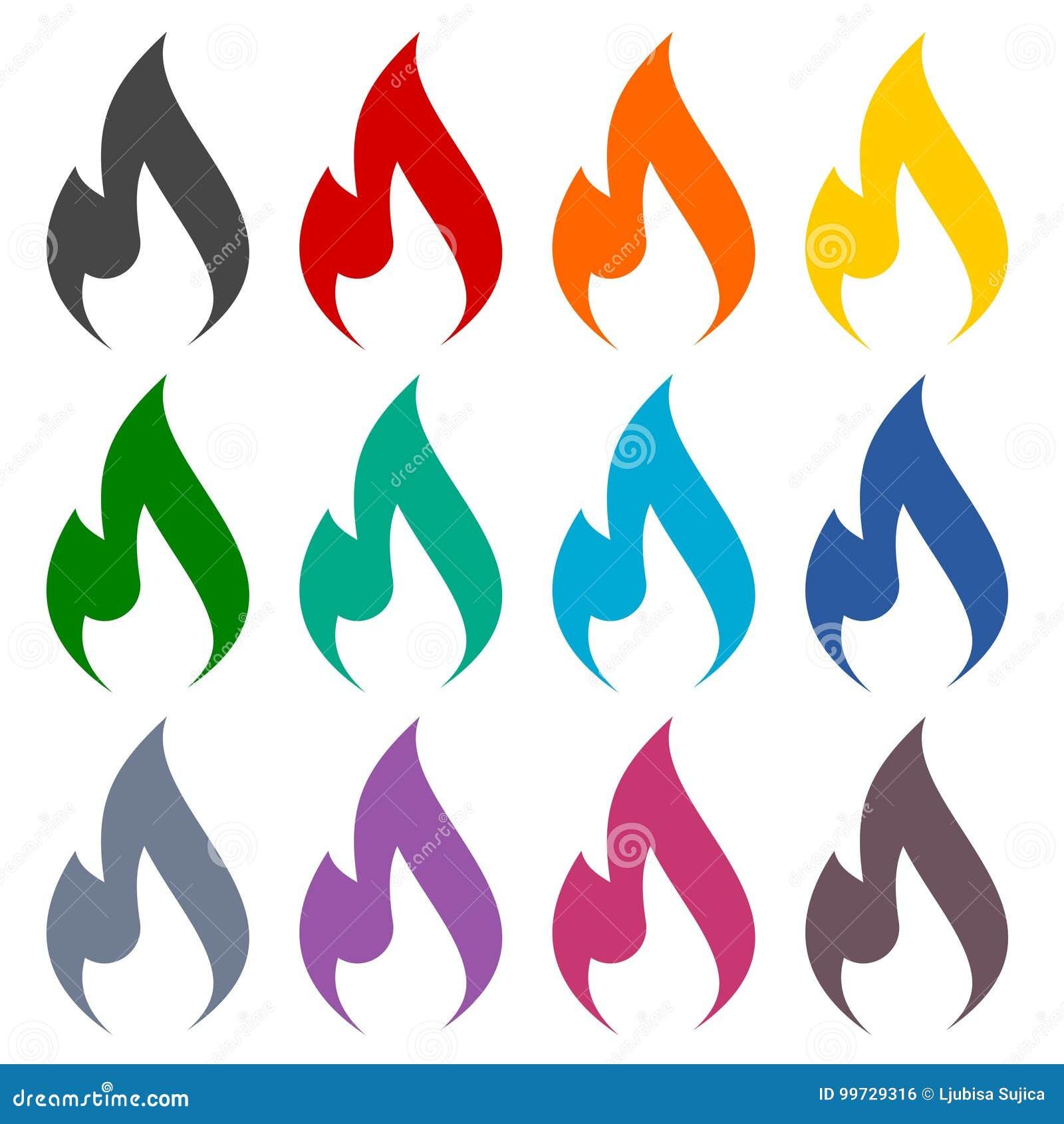 Iconos de la llama del gas fijados