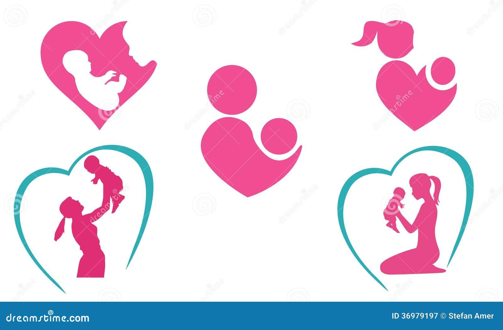 Libro Para Colorear Madre Hija Ilustraciones Vectoriales Clip: Iconos De La Madre Y Del Bebé Ilustración Del Vector