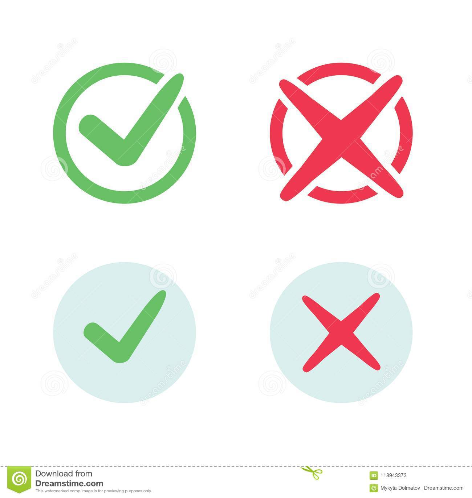 Iconos de la marca de verificación Iconos de las marcas de cotejo de la señal verde y de la Cruz Roja fijados