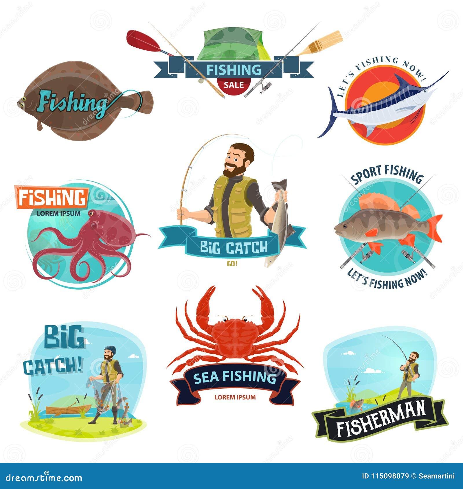 Iconos de la pesca deportiva del pescador del vector
