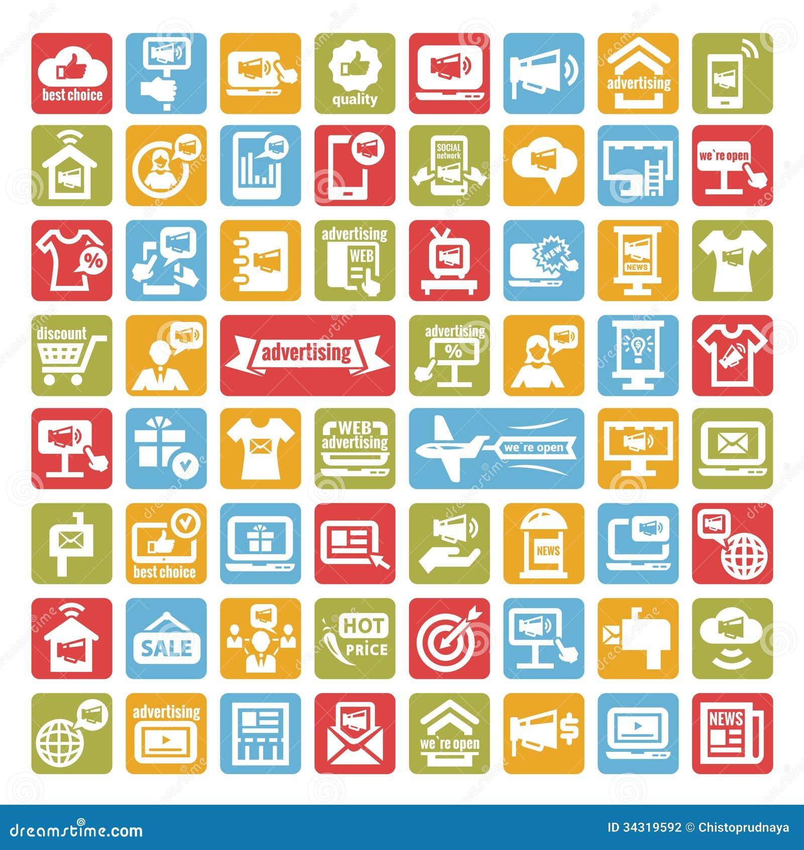Iconos de la publicidad del color fijados