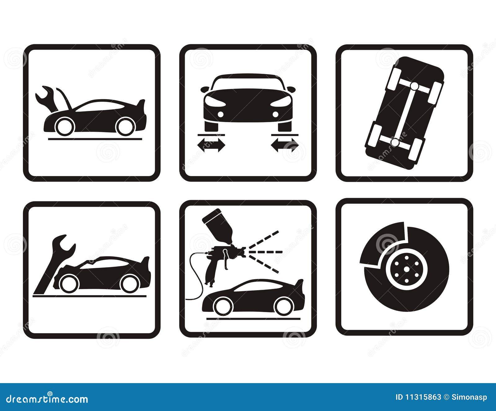 Iconos de la reparación del coche