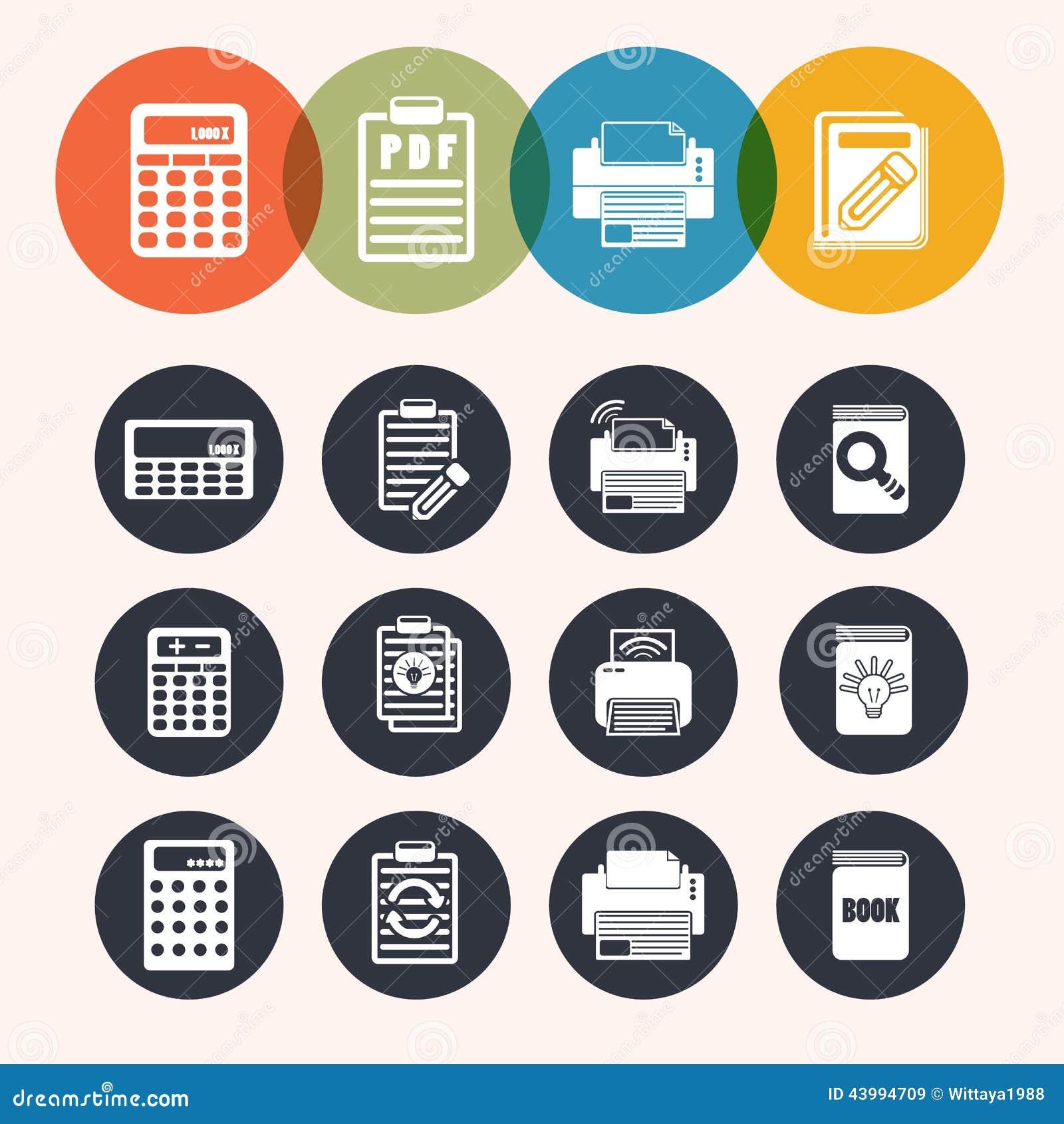 Iconos de la serie del círculo de la colección, calculadora, libreta, impresión, libro
