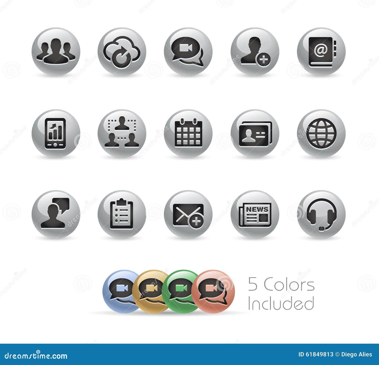 Iconos de la tecnología del negocio -- Serie redonda del metal