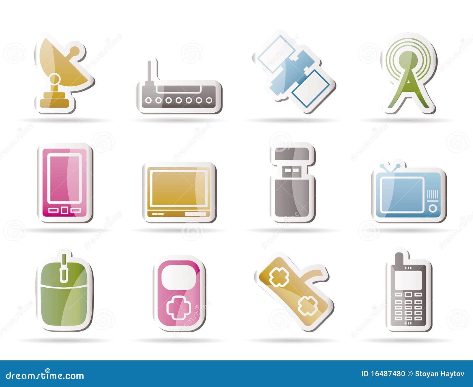 Iconos de la tecnología y de las comunicaciones