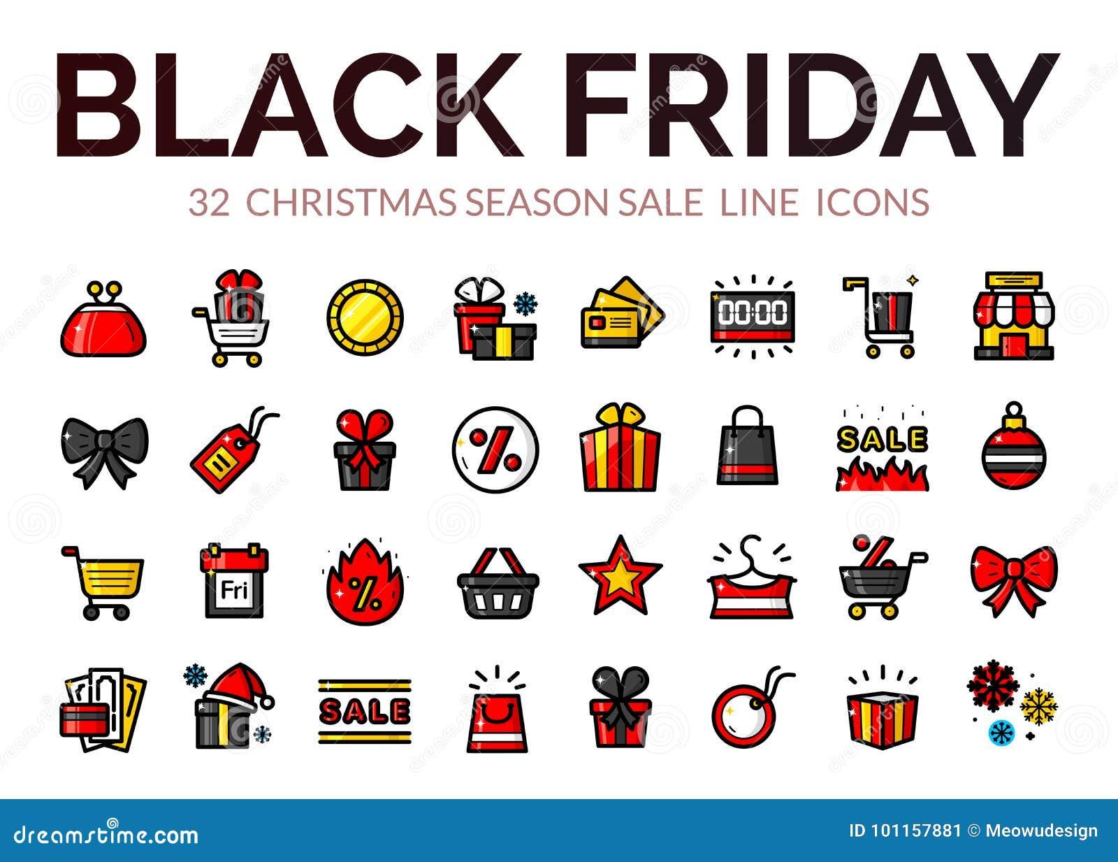 Iconos de la venta de Black Friday, ejemplo del vector