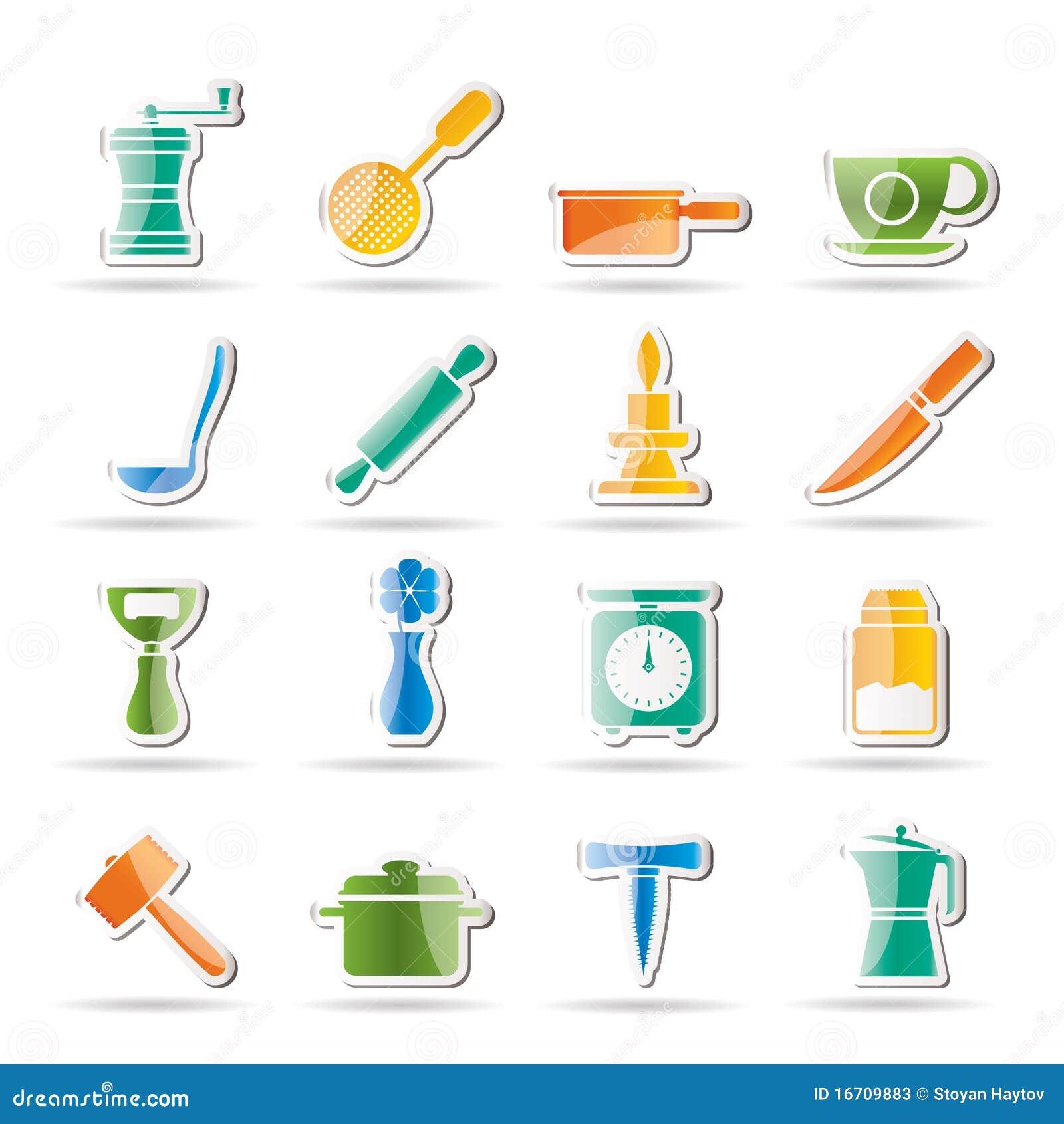 Iconos de las herramientas de la cocina y del hogar fotos for Herramientas cocina