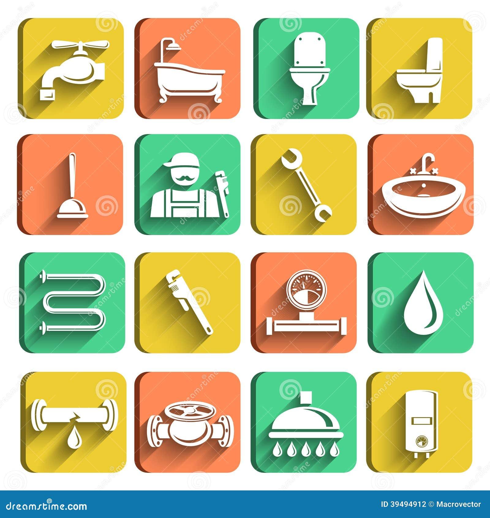 Iconos de las herramientas de la fontaner a fijados for La proveedora de fontaneria