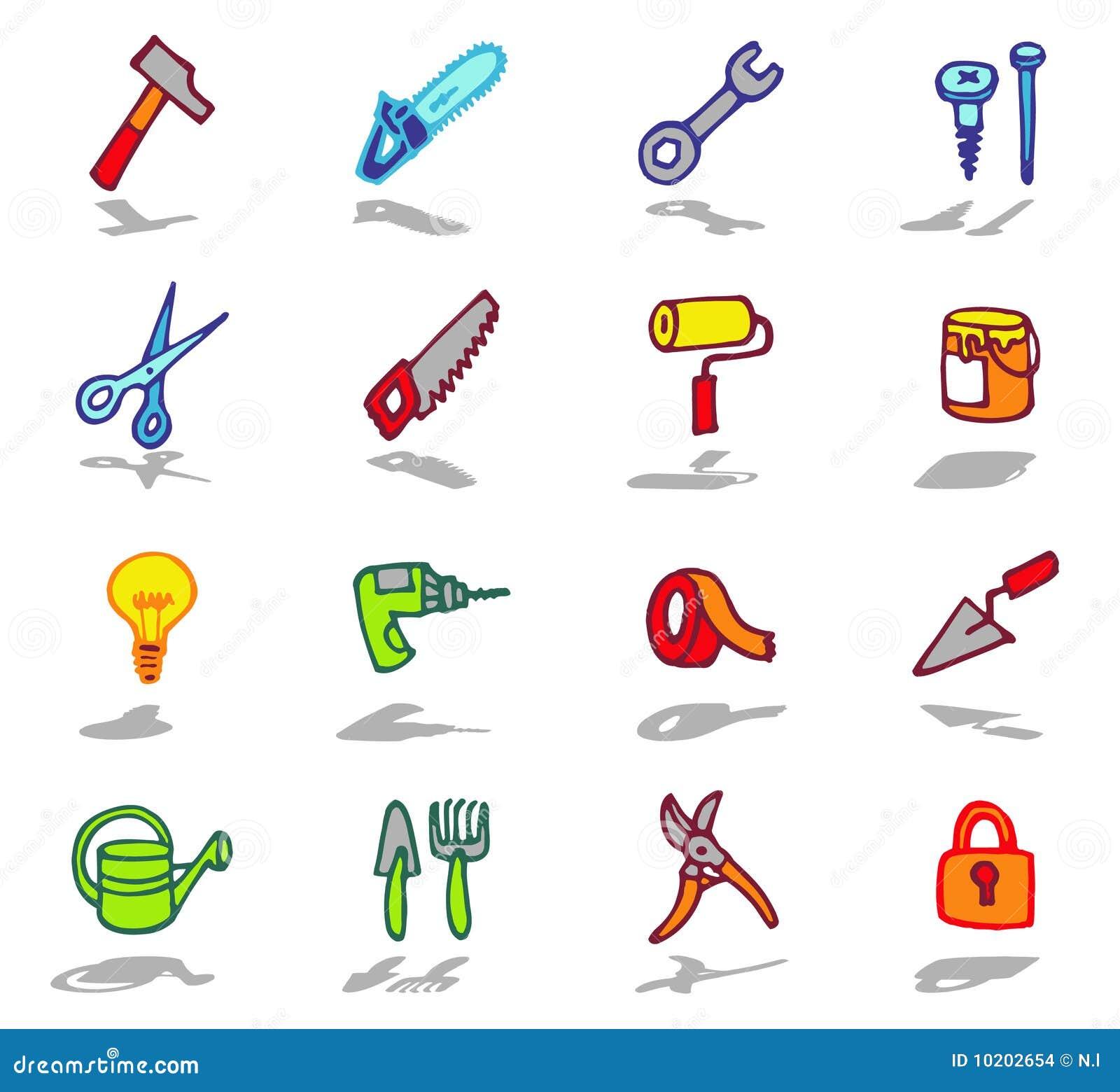 Iconos de las herramientas fijados ilustraci n del vector - Herramientas de carpinteria nombres ...