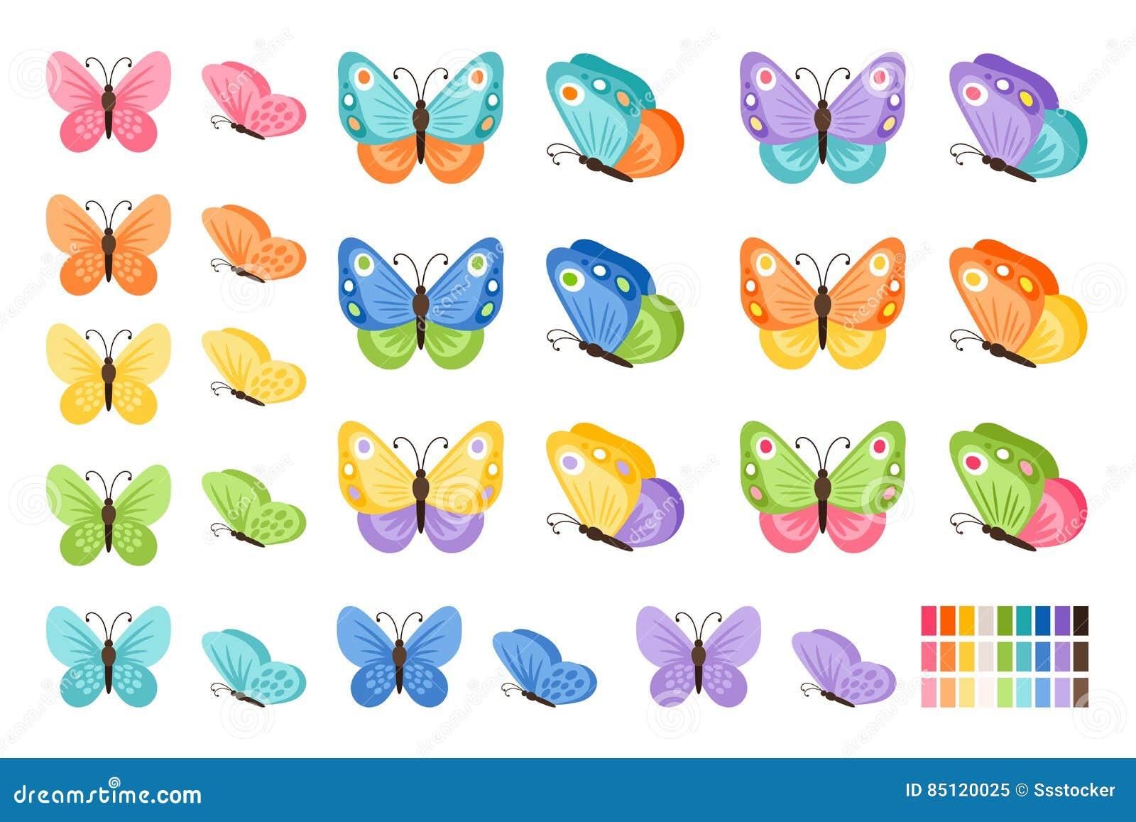 Iconos De Las Mariposas De La Acuarela Ilustración Del