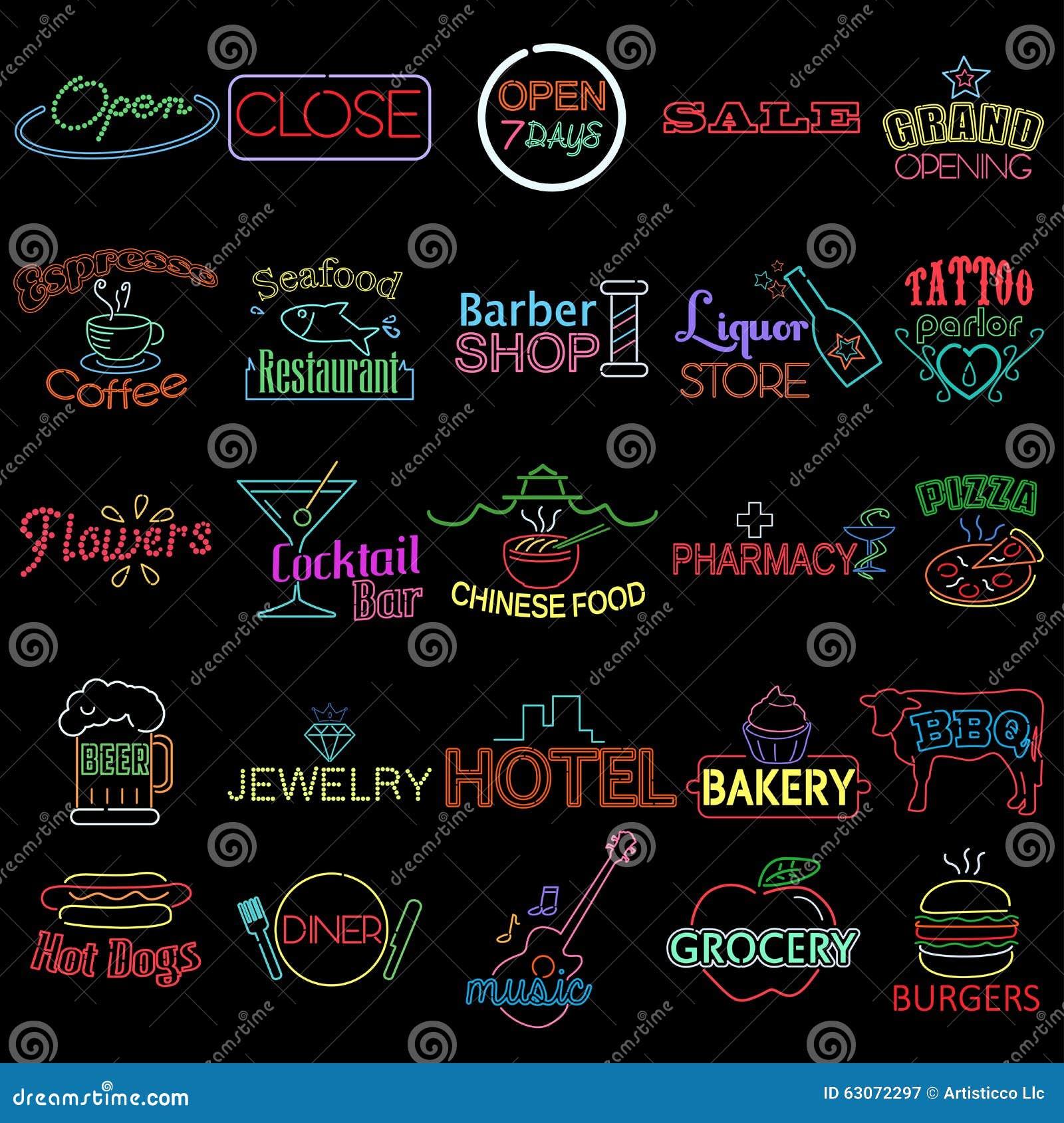 Iconos de las muestras de neón de la tienda
