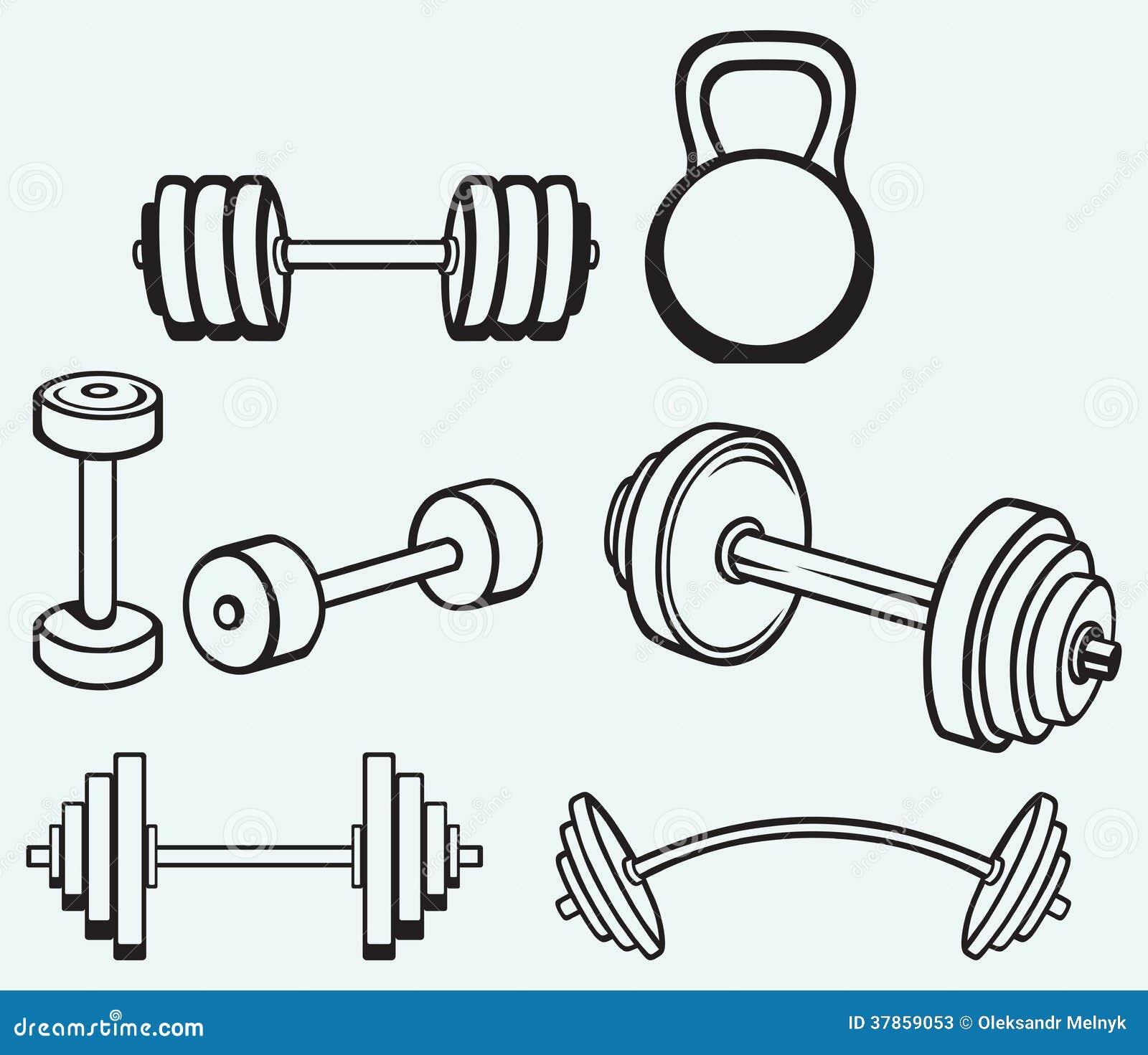 Iconos de las pesas de gimnasia