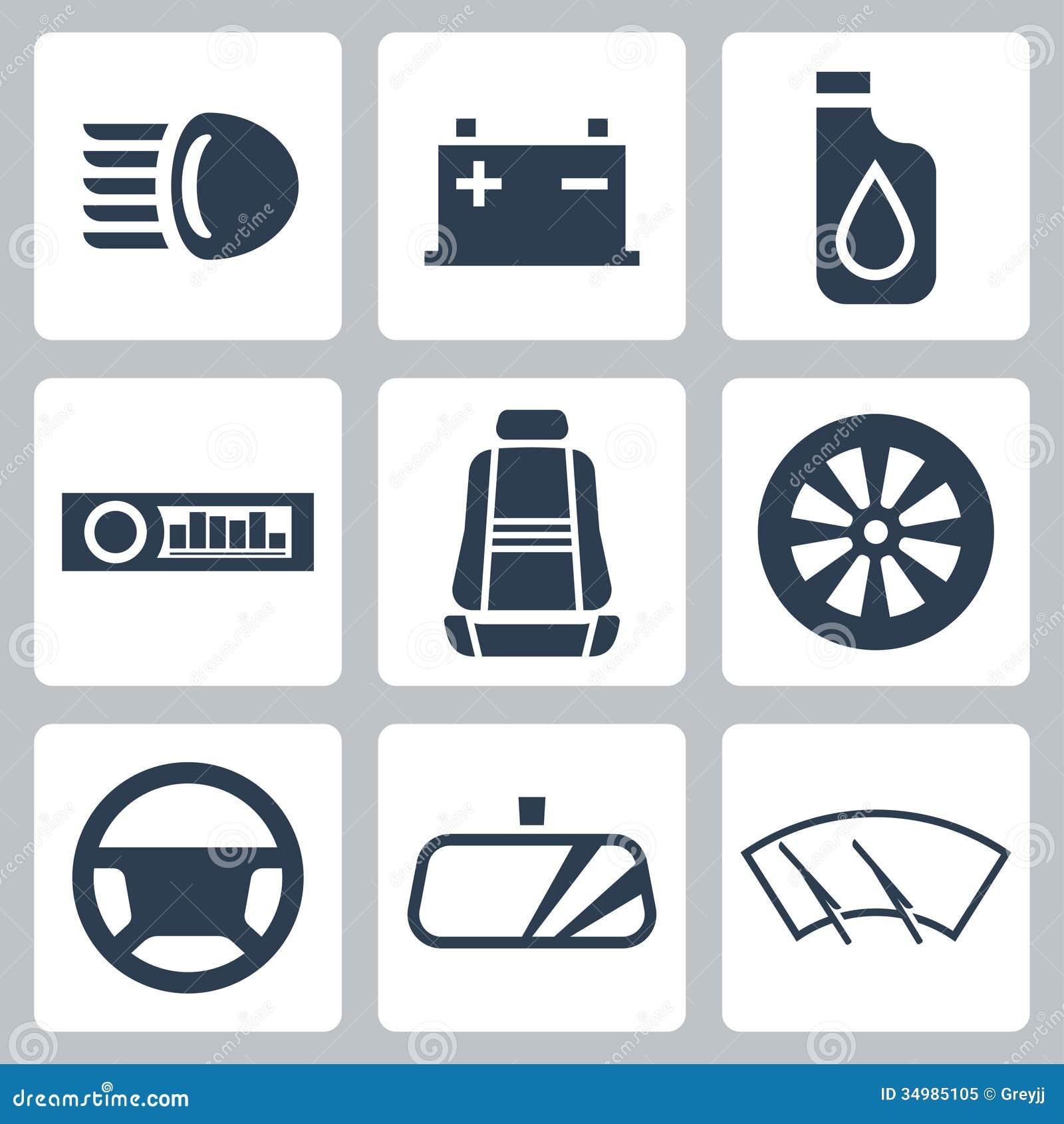 Iconos de las piezas de automóvil del vector fijados