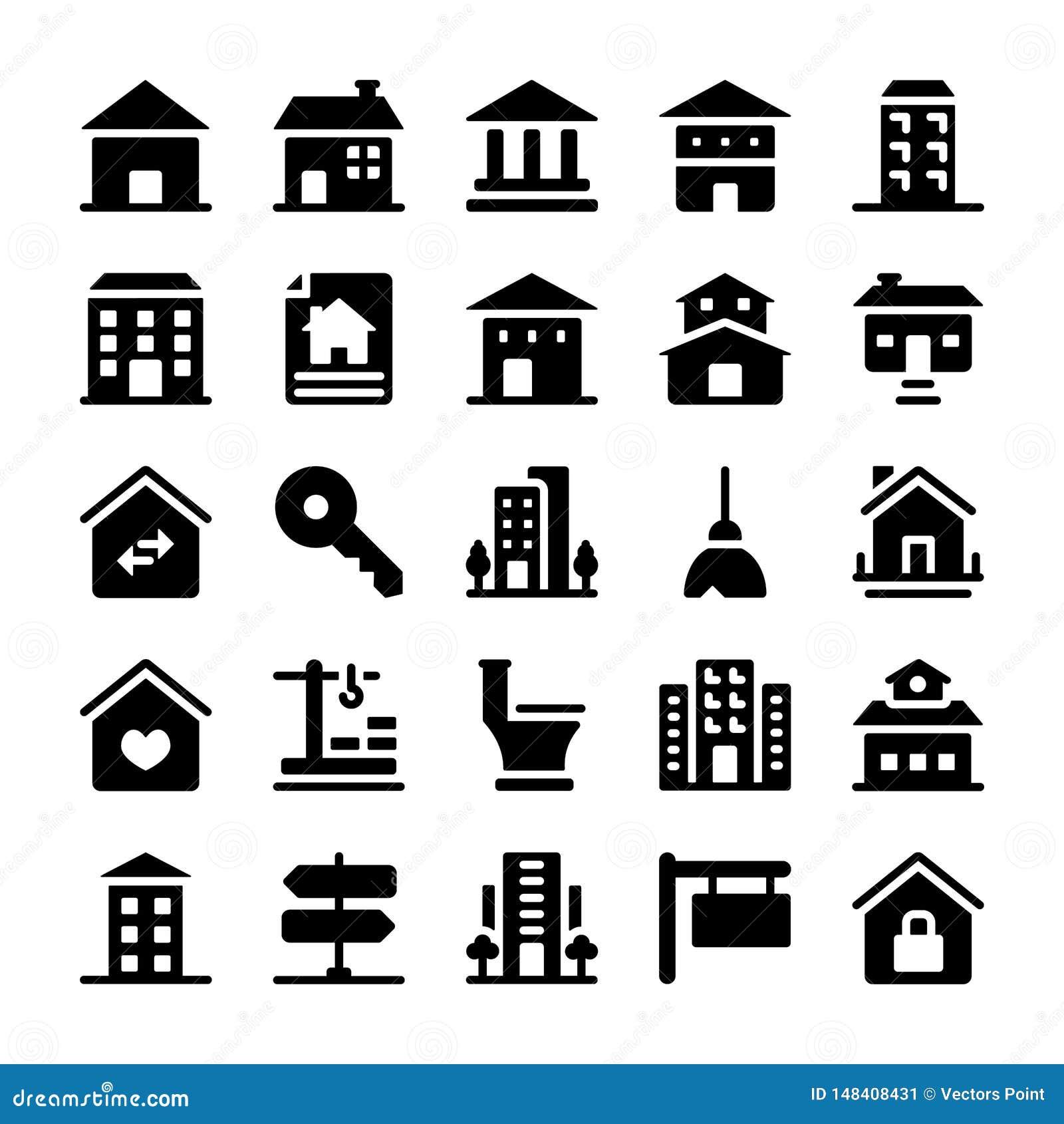 Iconos de las propiedades inmobiliarias fijados