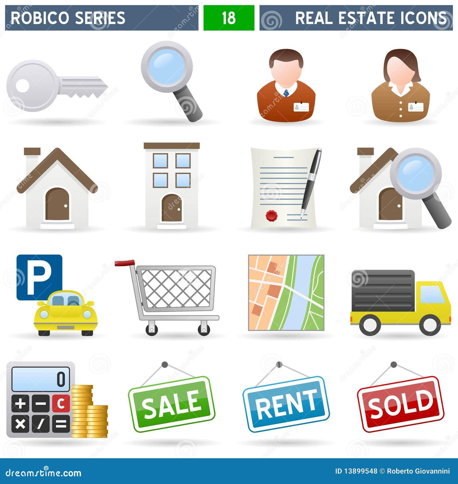 Iconos de las propiedades inmobiliarias - serie de Robico