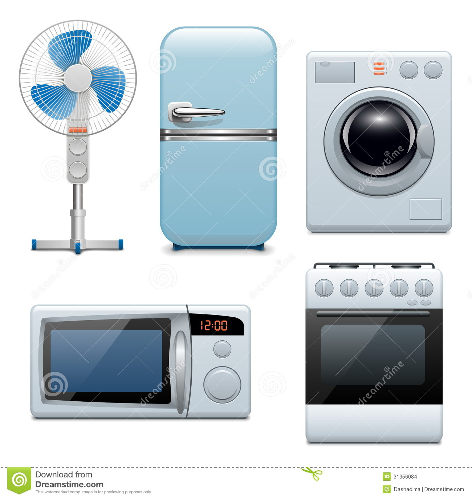 Iconos de los aparatos electrodom sticos del vector - Electrodomesticos la casa ...