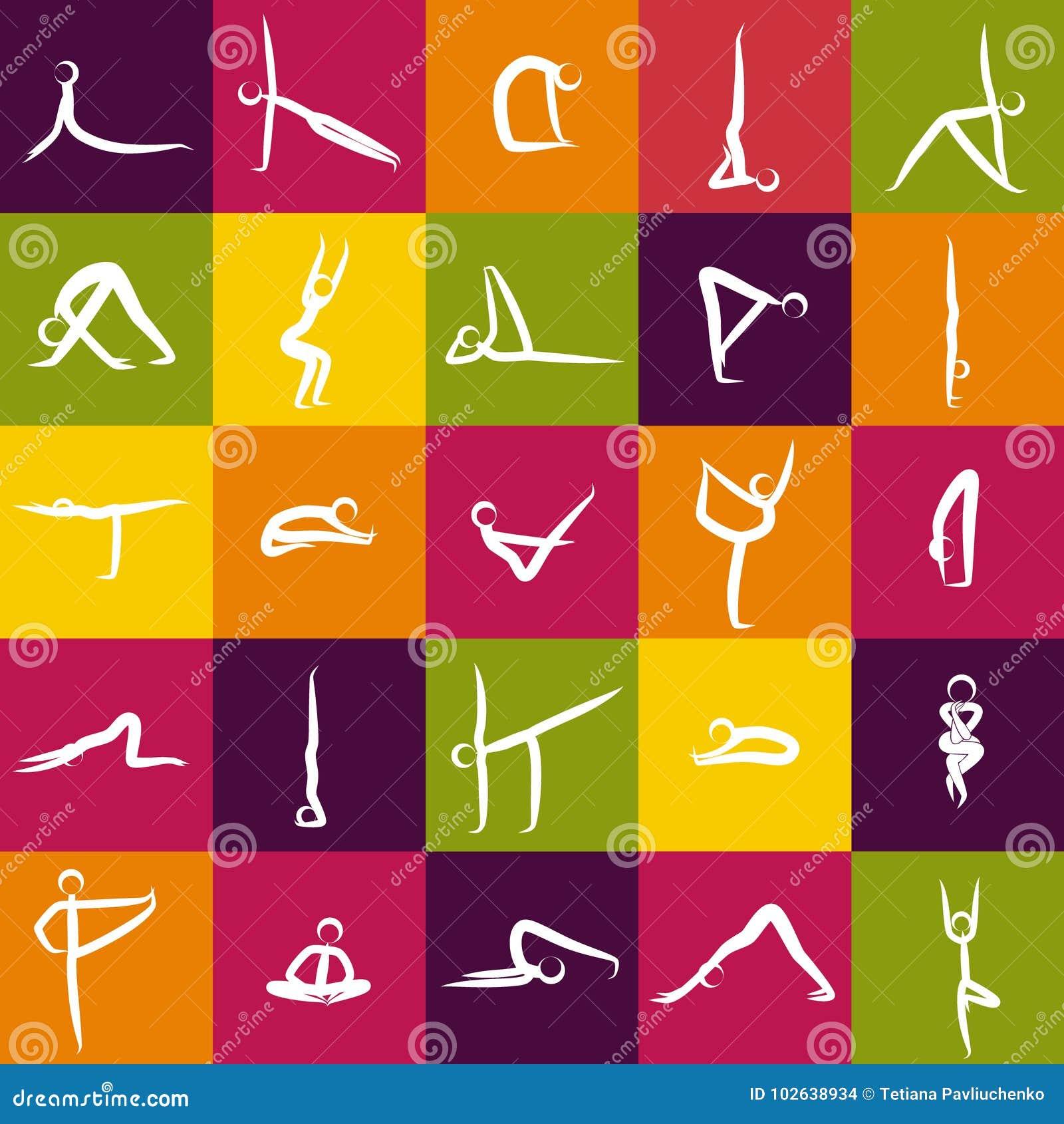 Iconos de los asanas de la yoga, actitudes