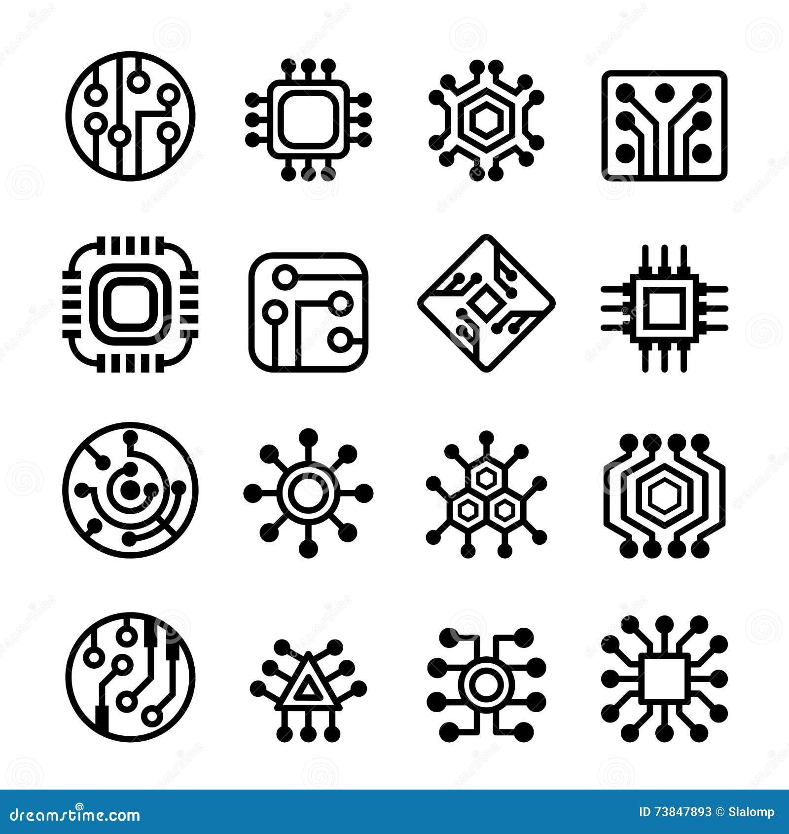 Circuito Electronico : Iconos de los chips de ordenador y del circuito electrónico
