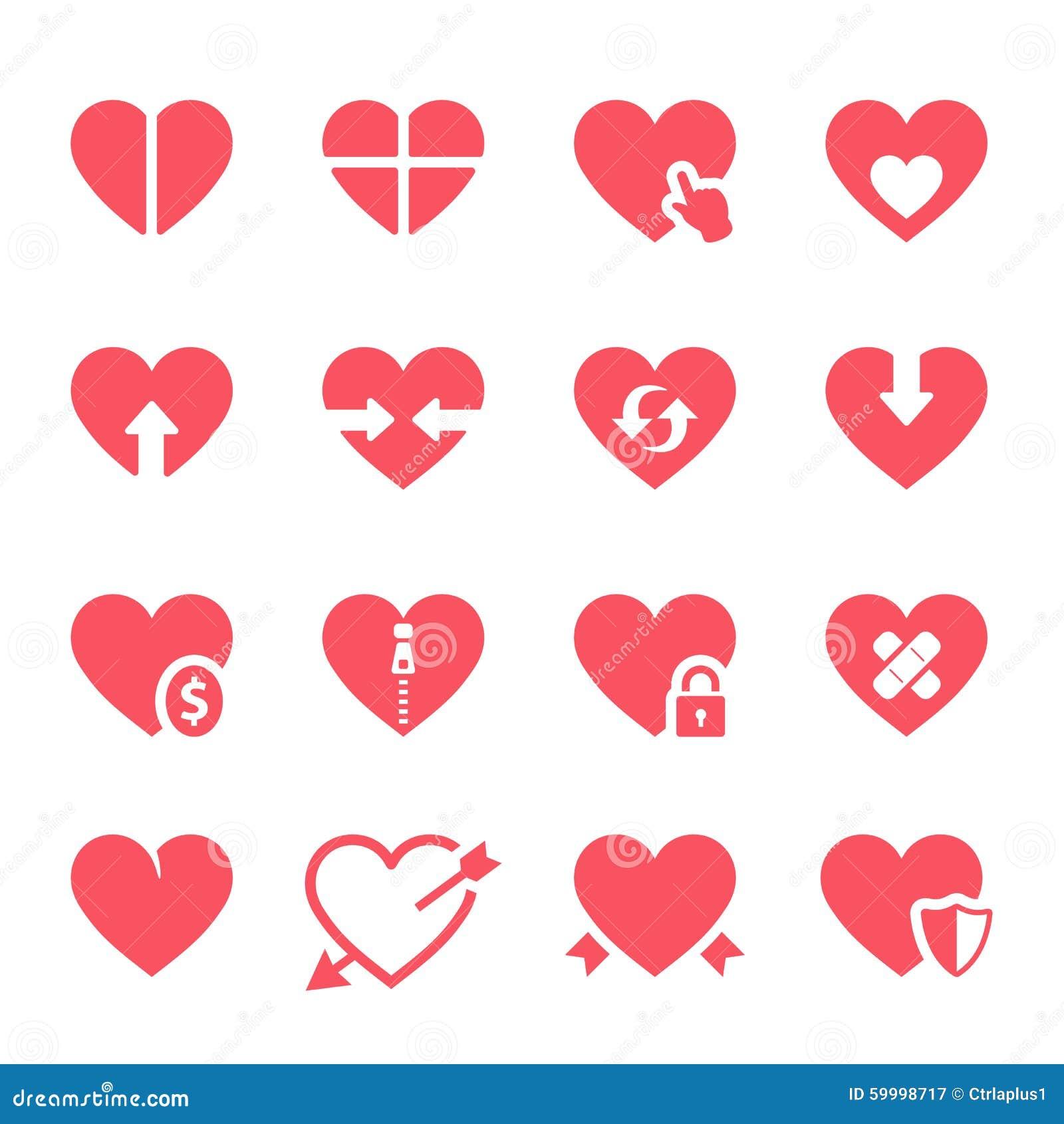 Iconos de los corazones del vector fijados