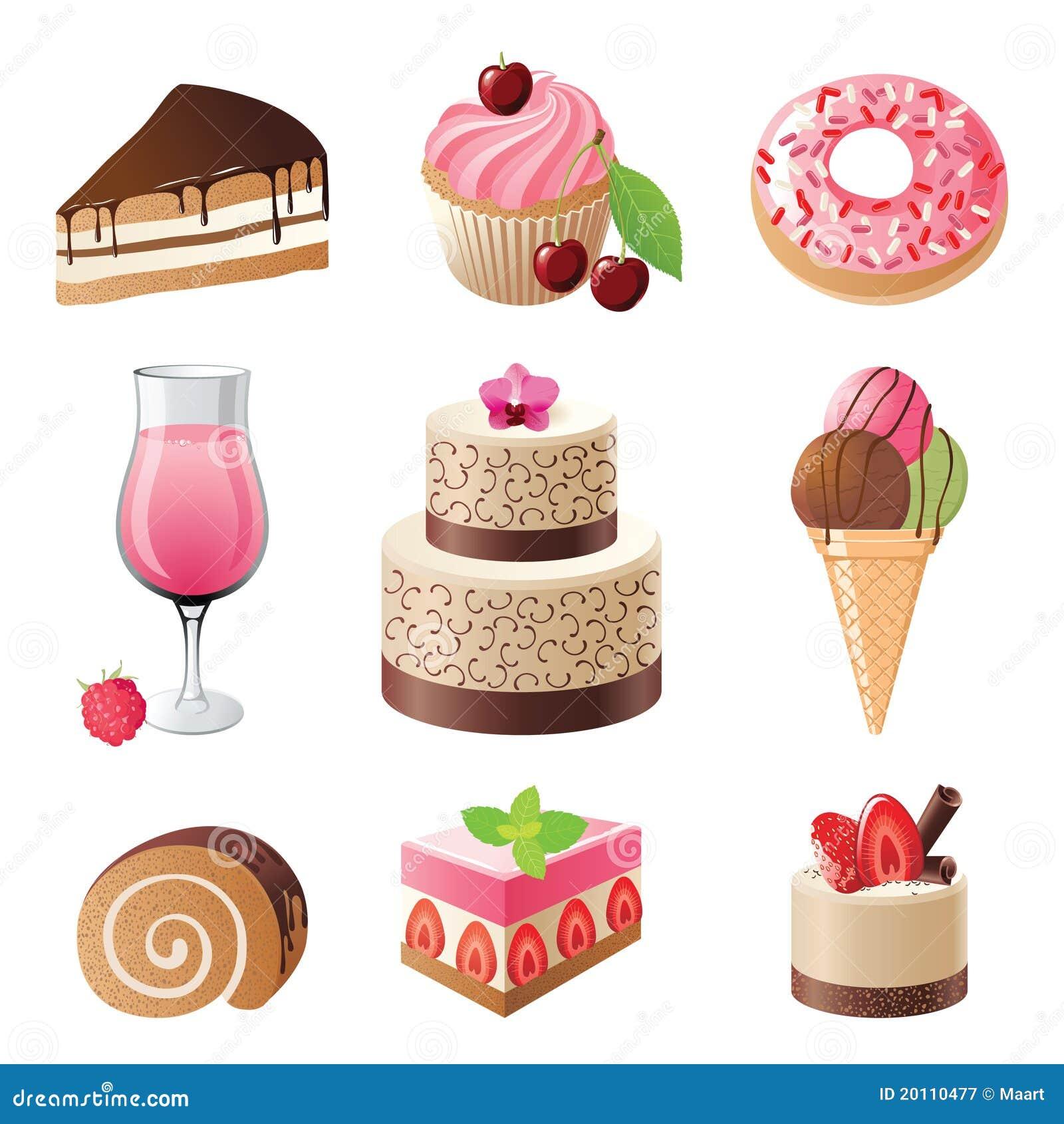 Iconos de los dulces y de los caramelos fijados