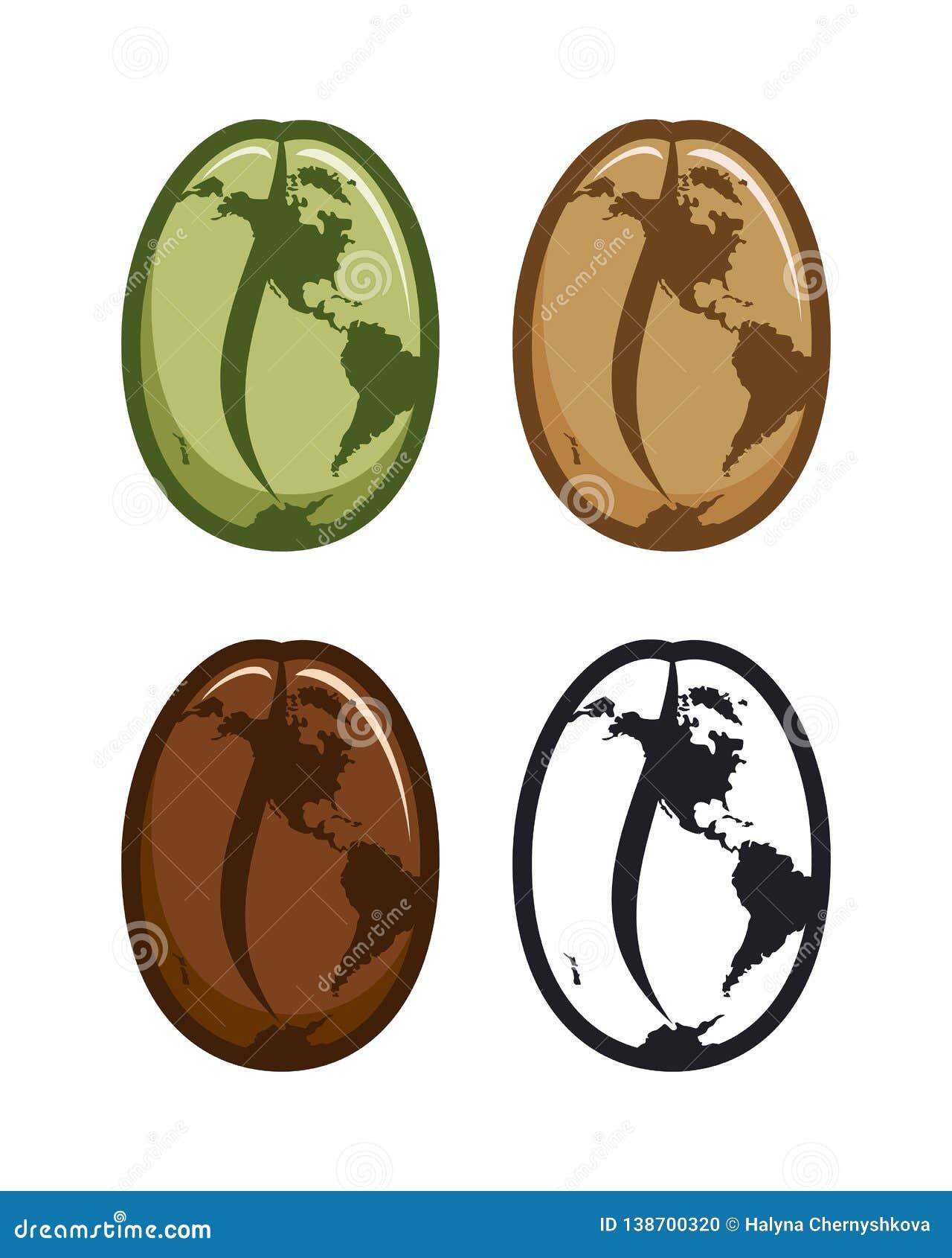 Iconos de los granos de café con el mapa del mundo estilizado